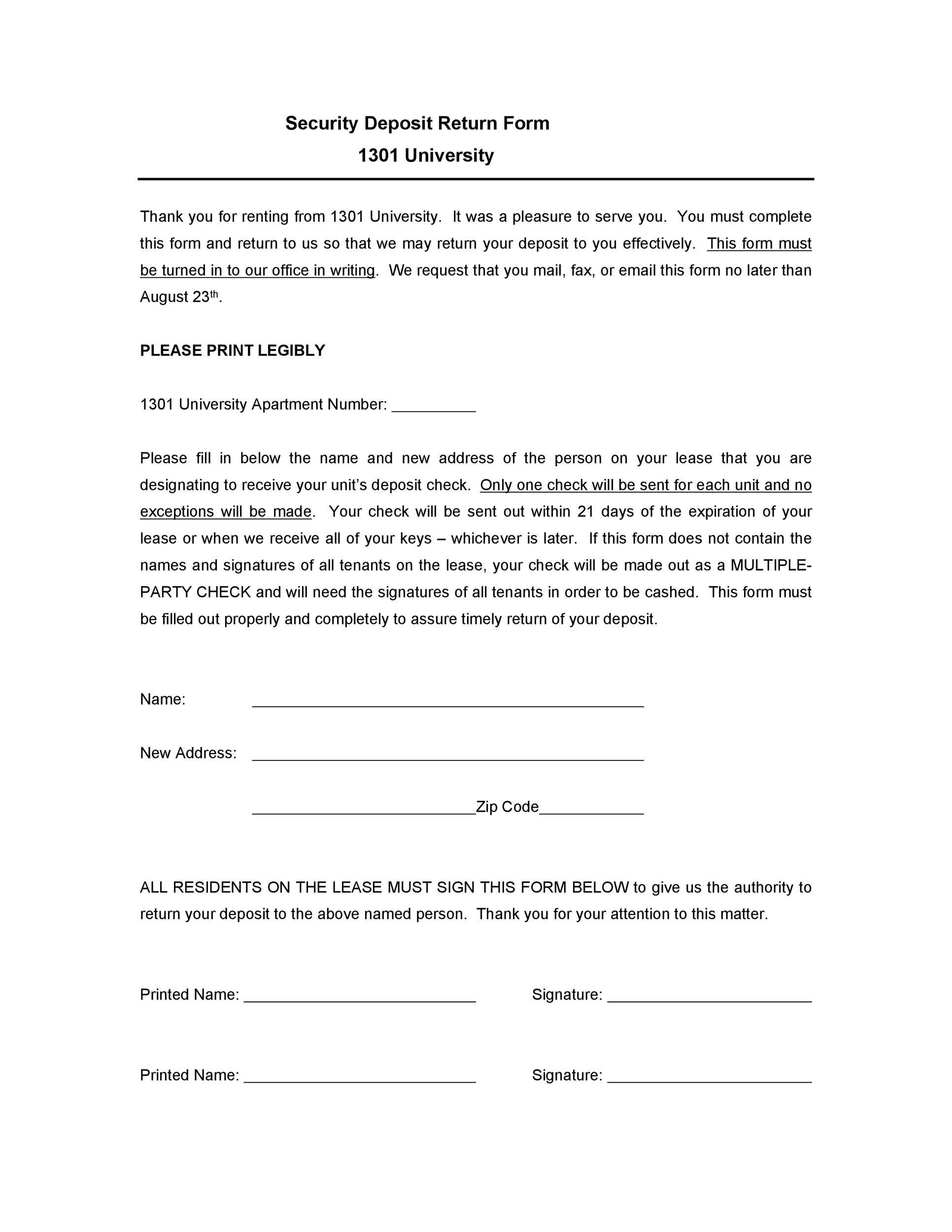 Free security deposit return letter 13