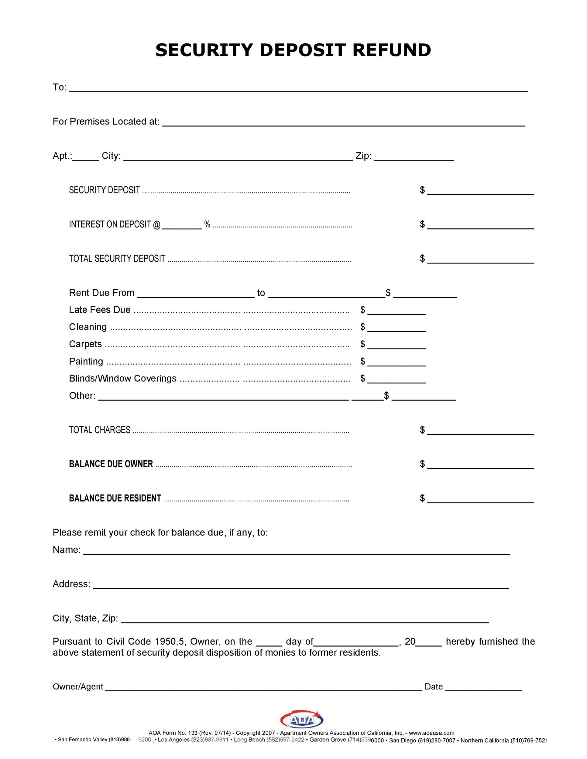 Free security deposit return letter 19