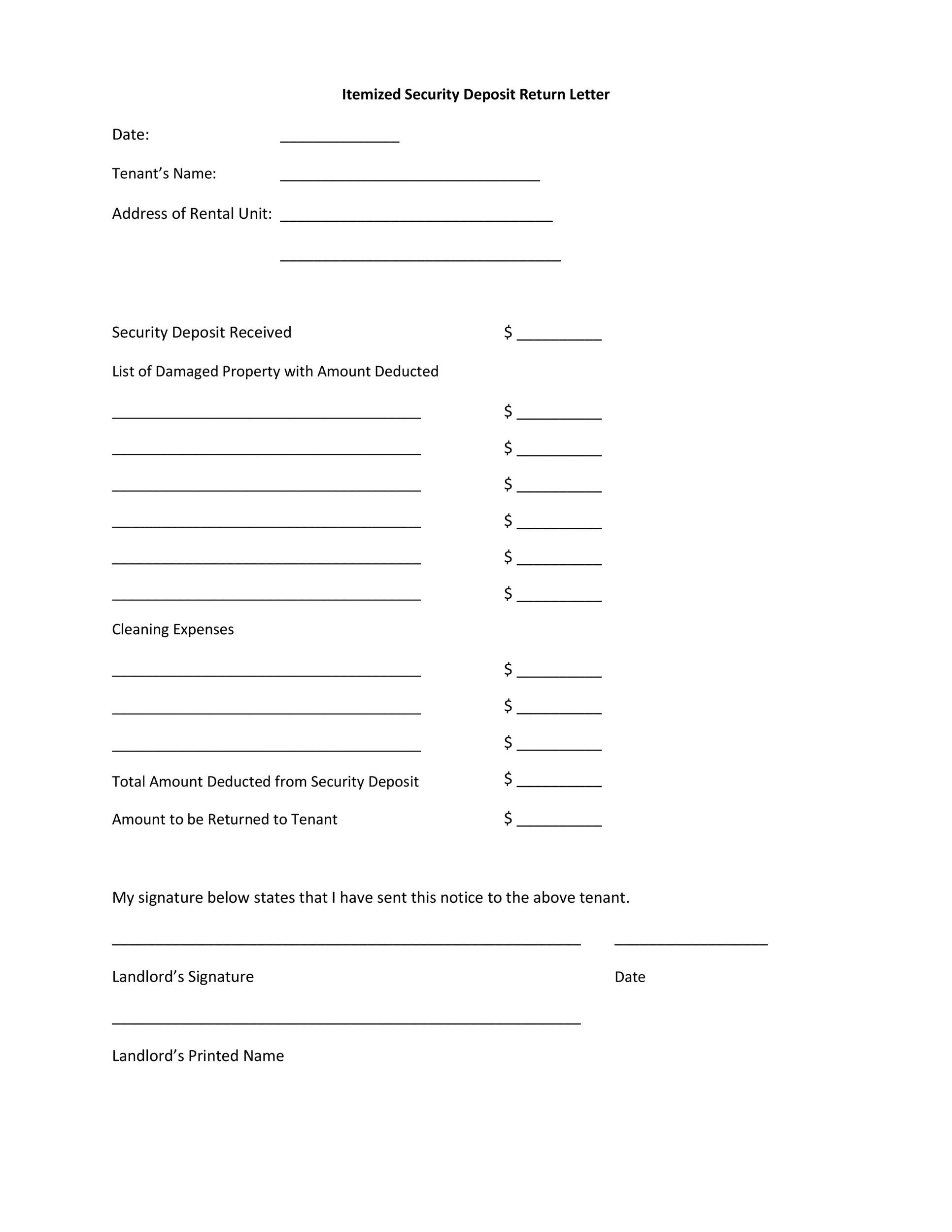 Free security deposit return letter 20
