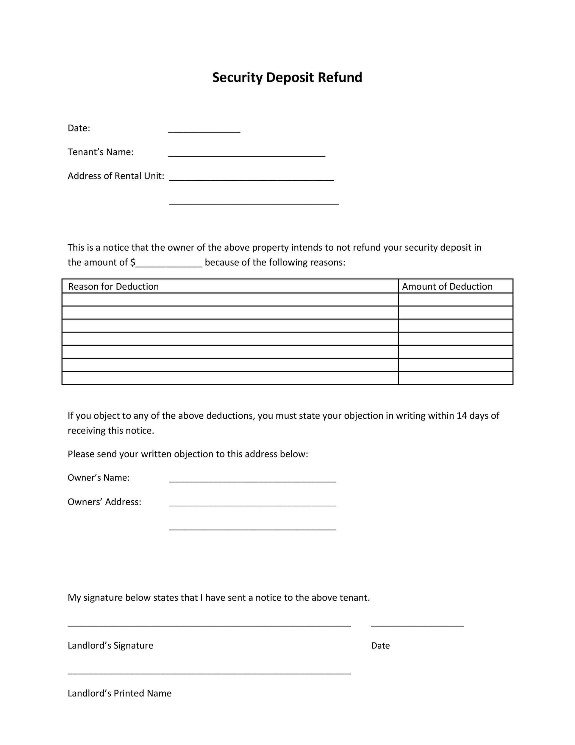 Landlord's letter returning security deposit & guide.