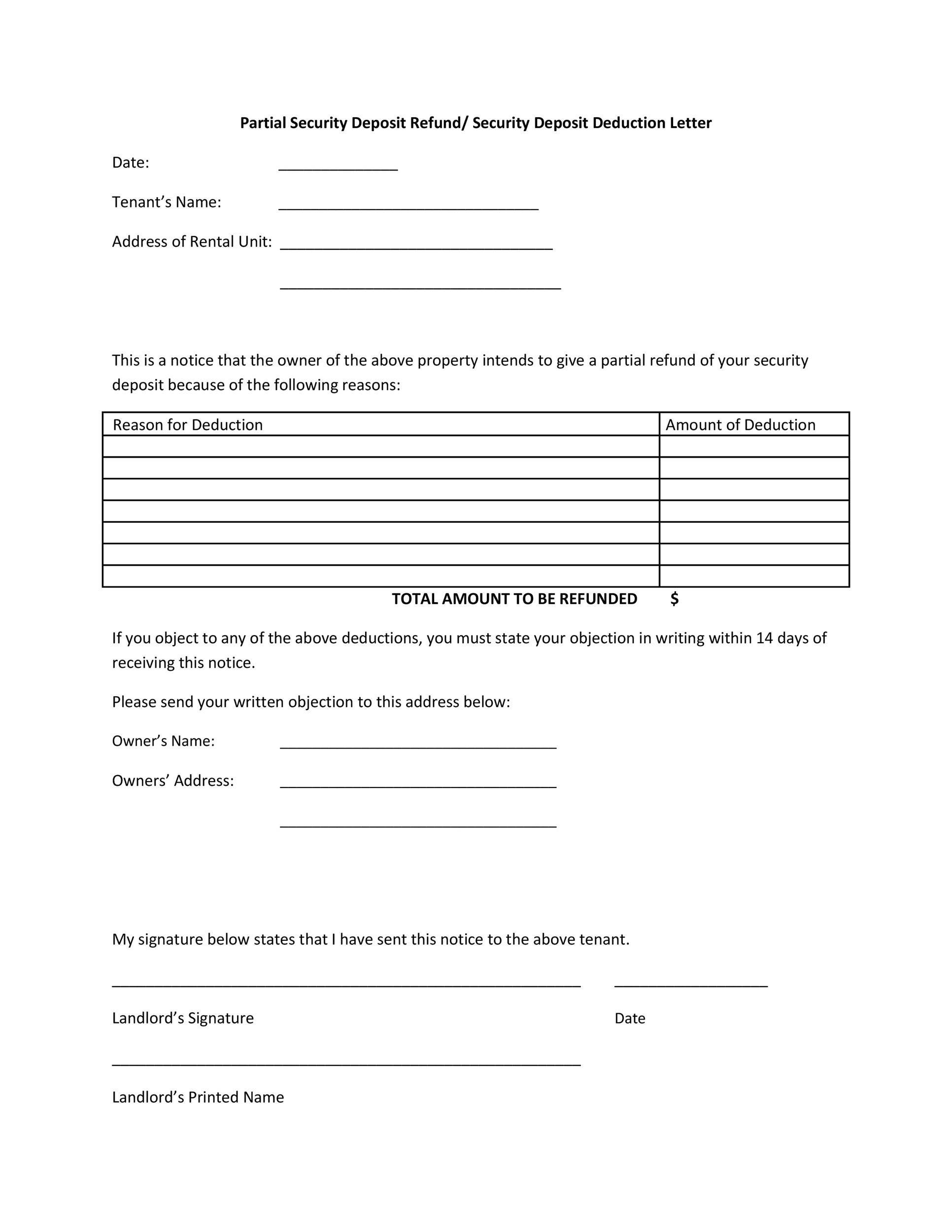 Free security deposit return letter 24