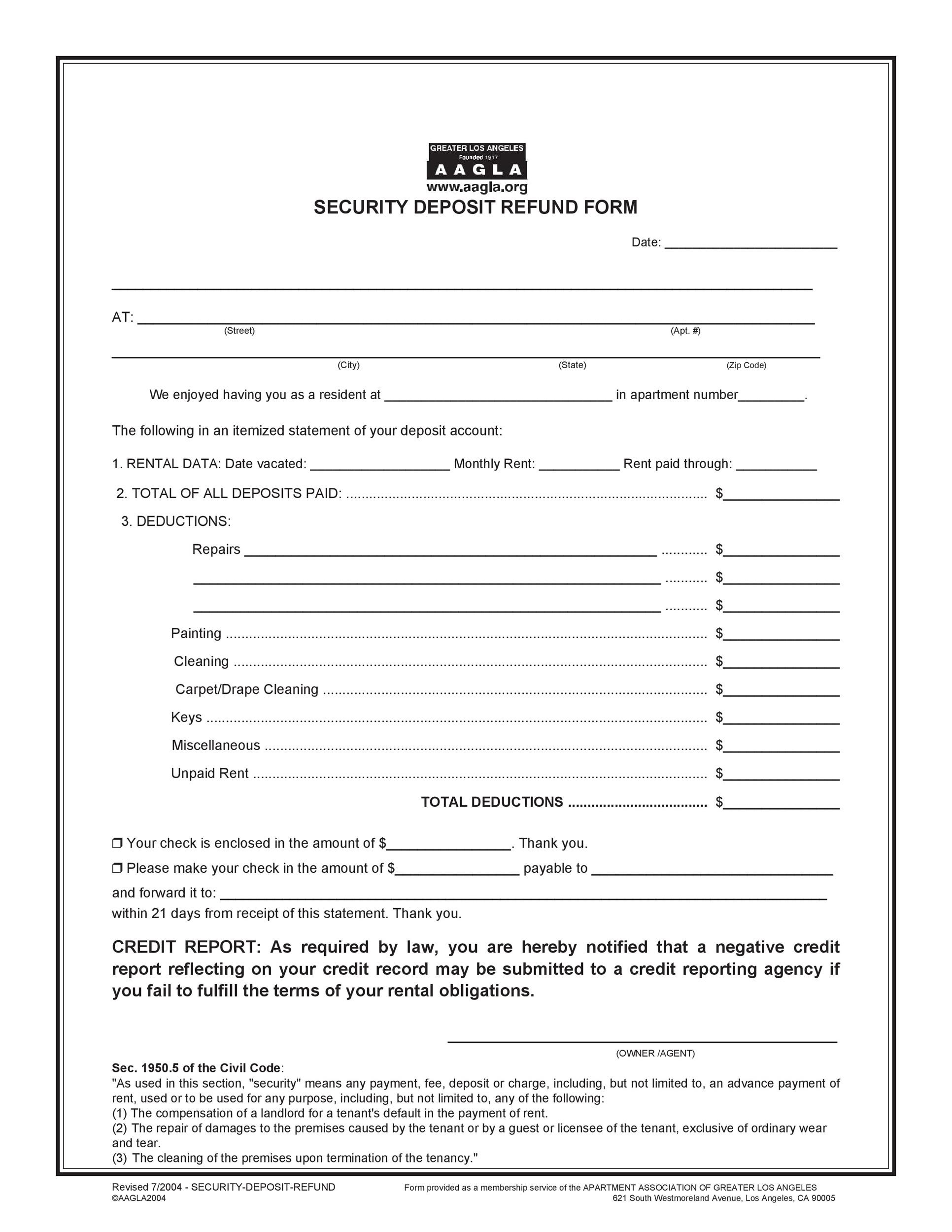 Free security deposit return letter 25