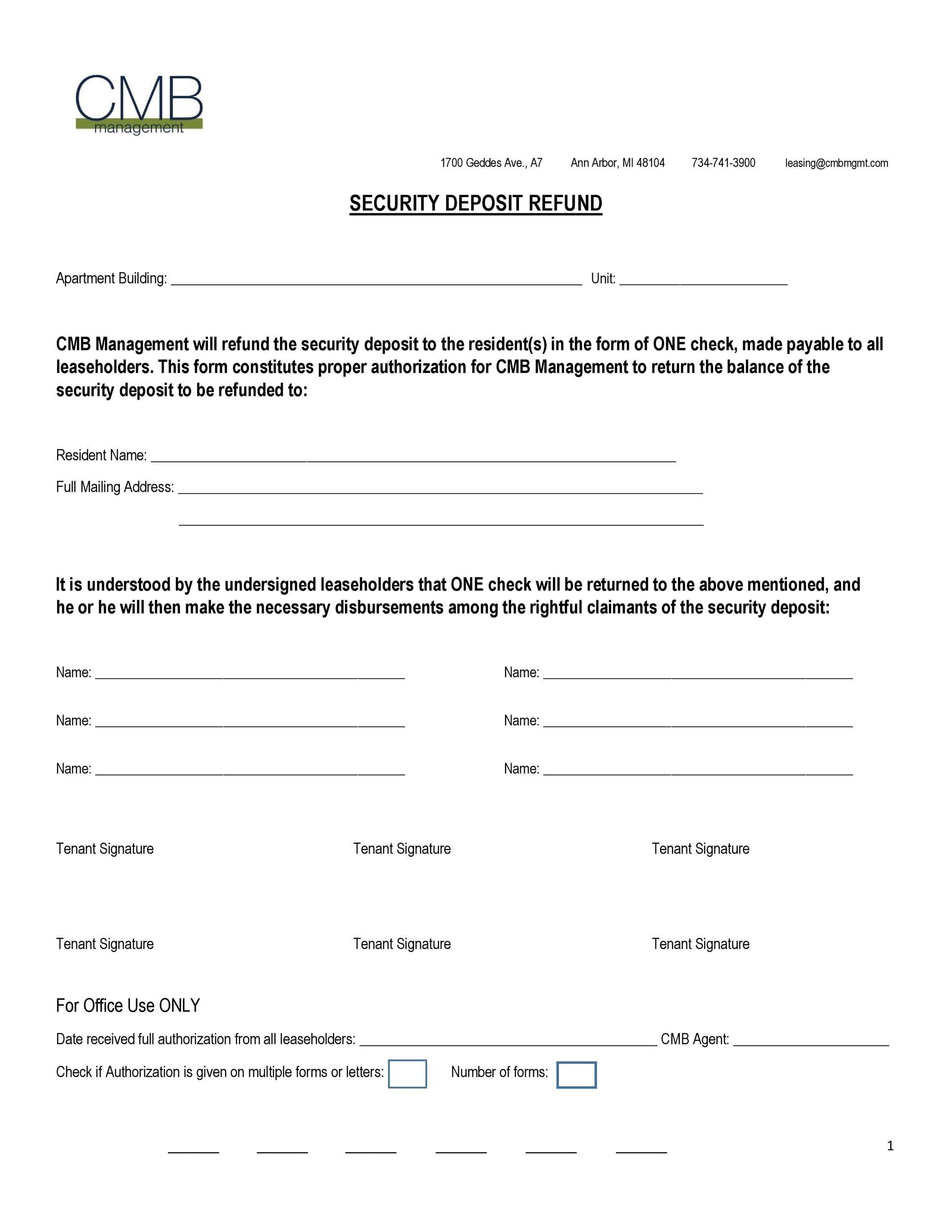 Free security deposit return letter 29