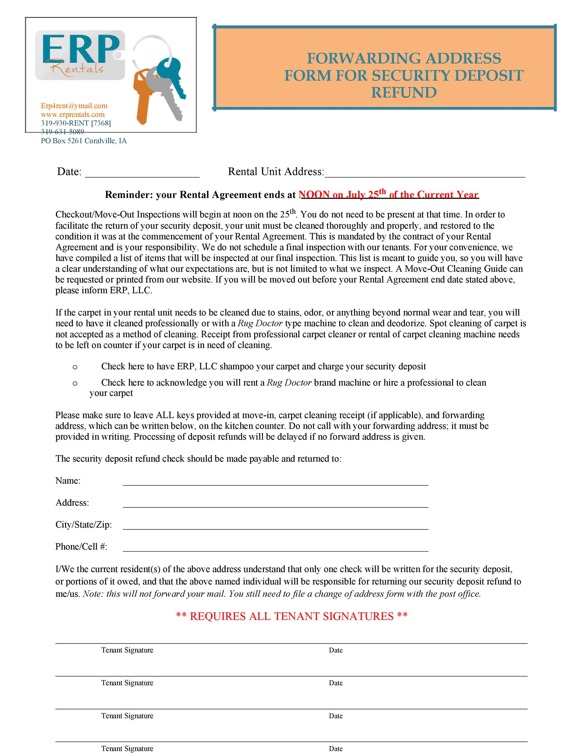 Free security deposit return letter 30