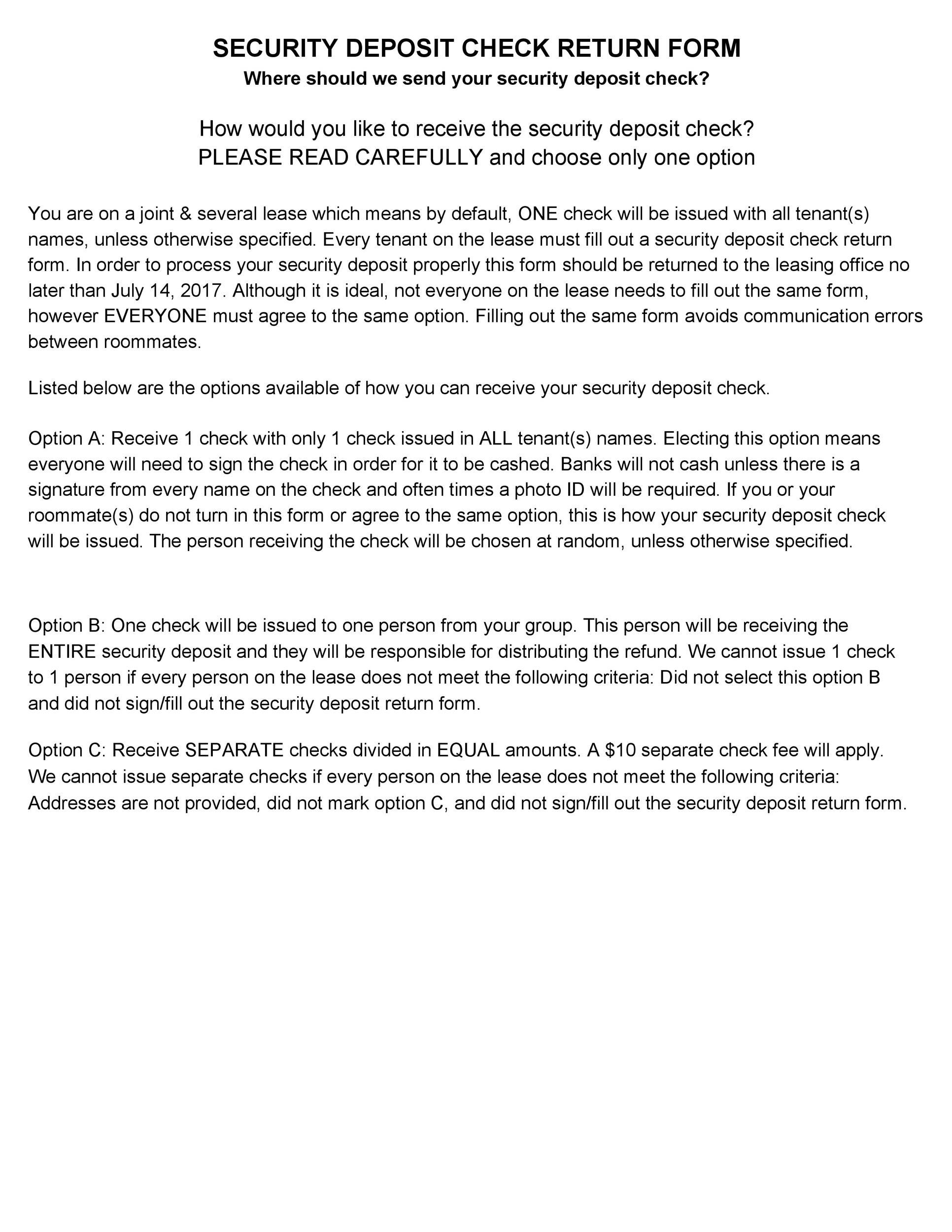 Free security deposit return letter 31
