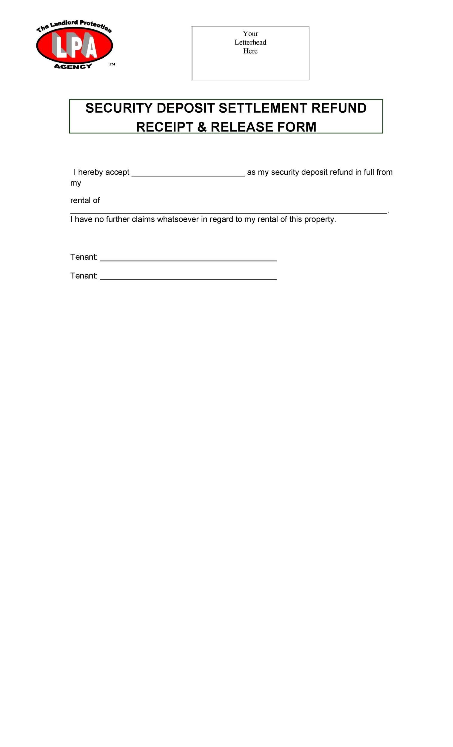 Free security deposit return letter 32