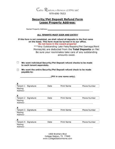 Security Deposit Return Letters
