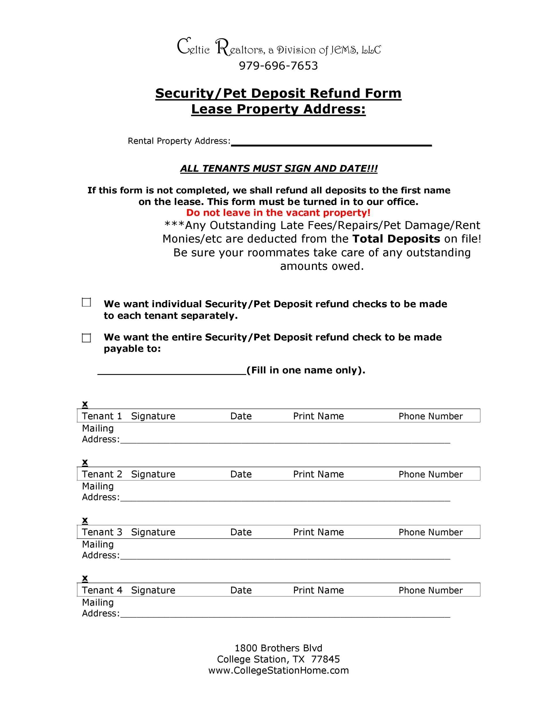 Free security deposit return letter 36