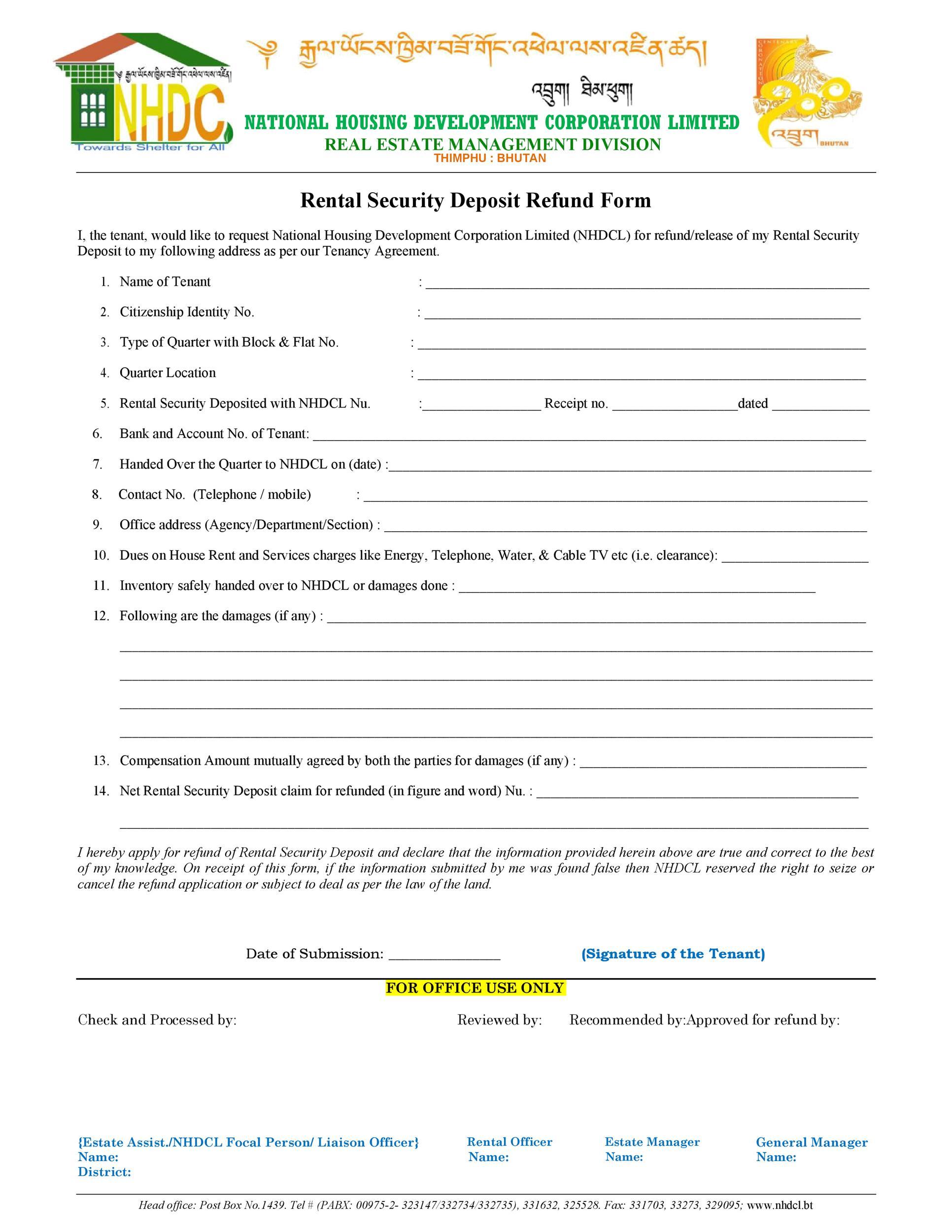 Free security deposit return letter 37