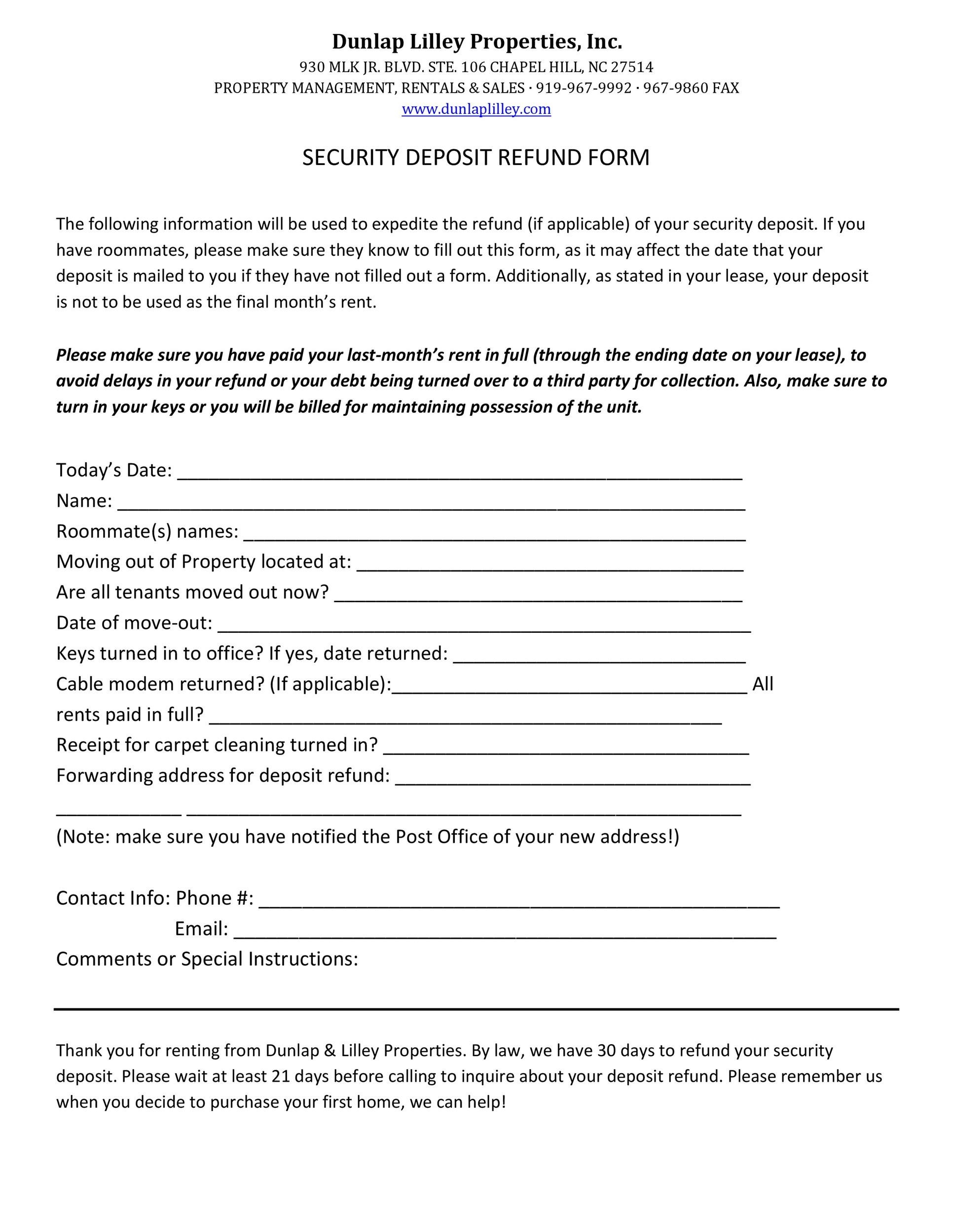Free security deposit return letter 38