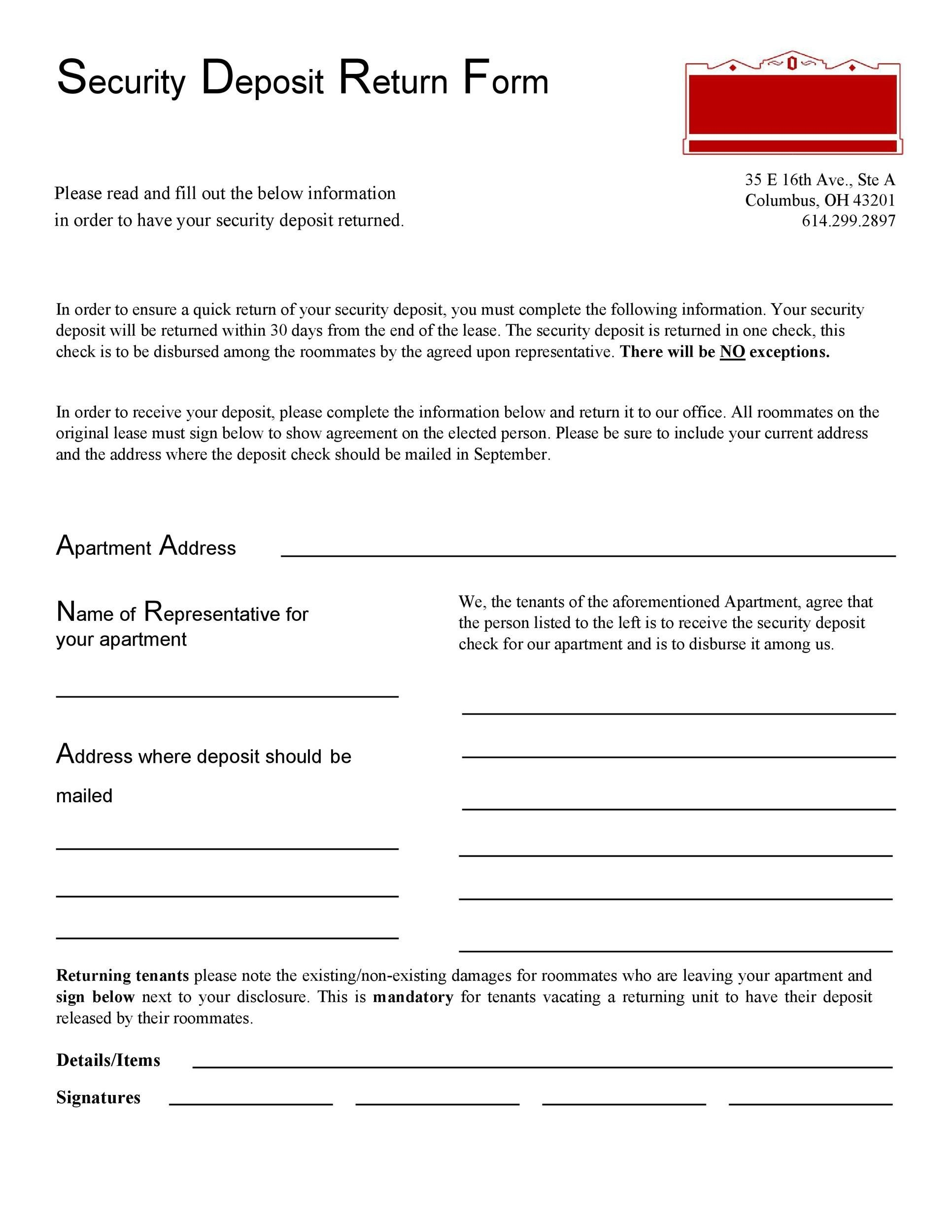 Free security deposit return letter 44