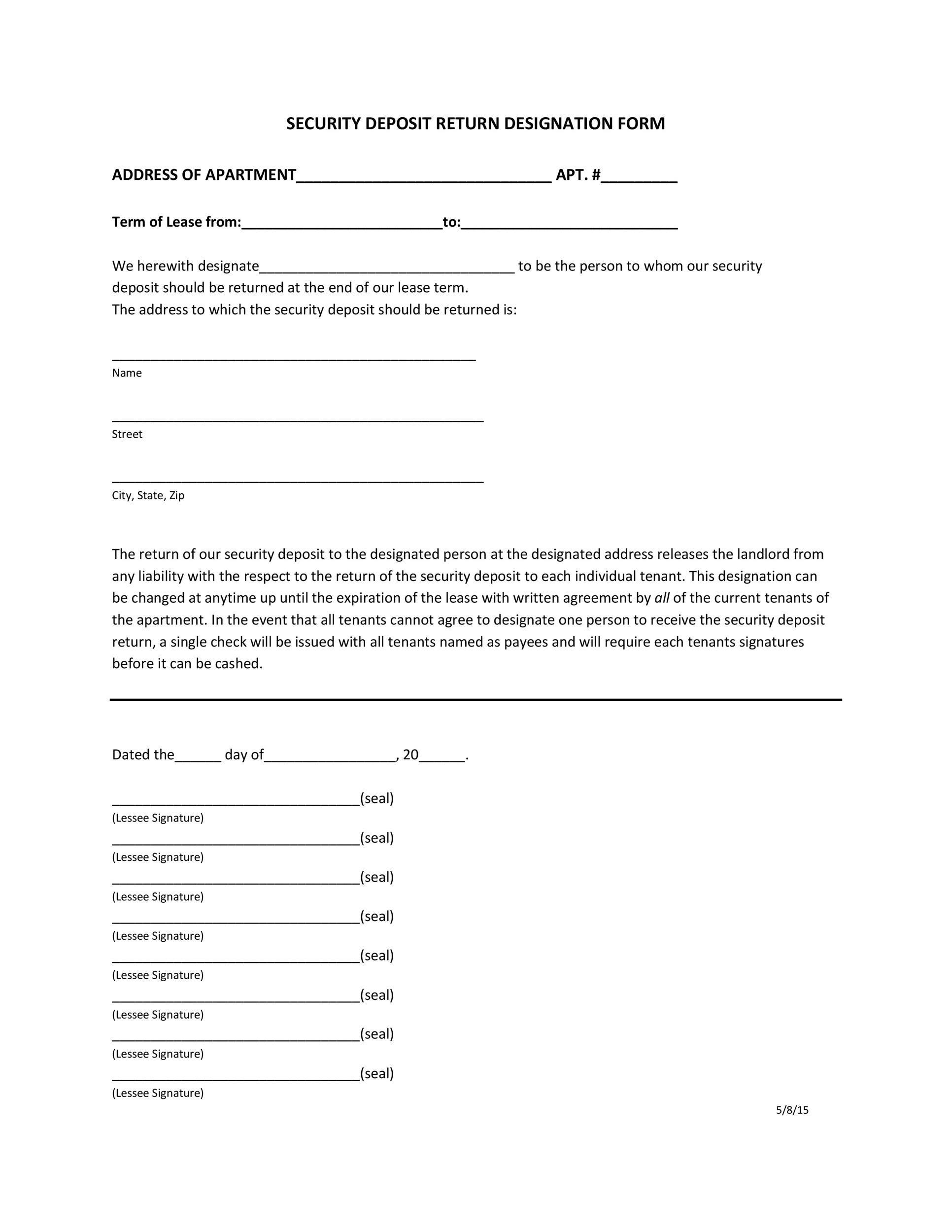 Free security deposit return letter 45