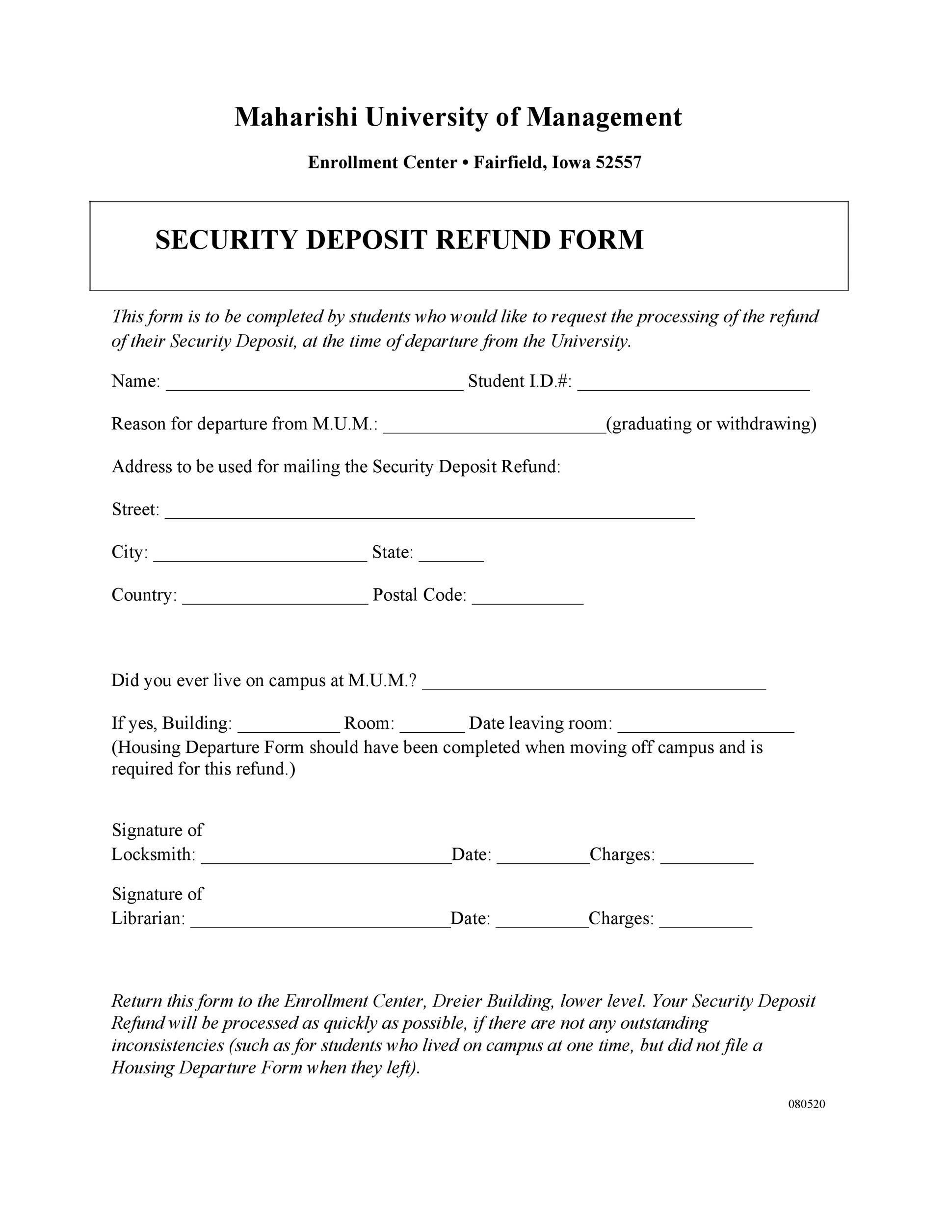 Free security deposit return letter 50