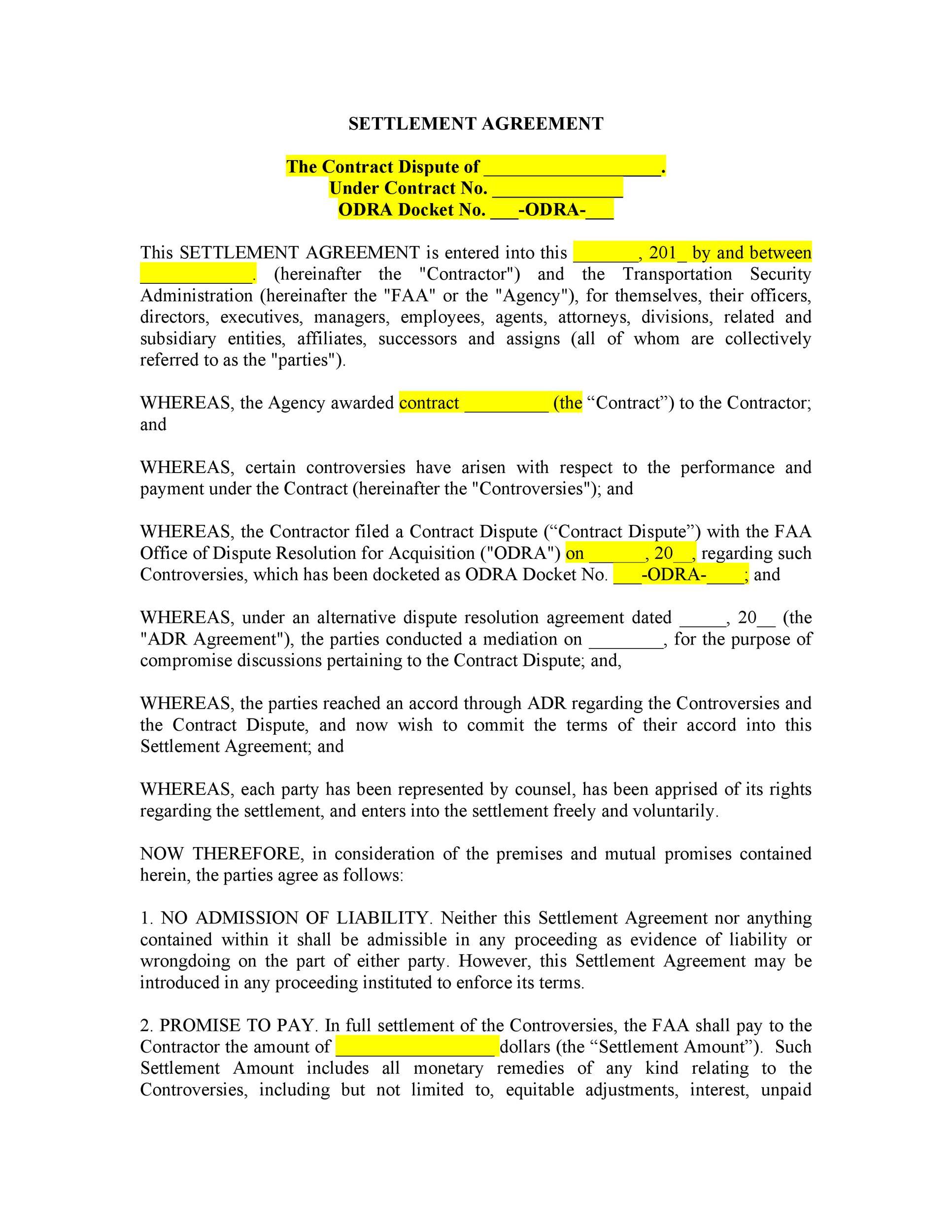 Free settlement agreement 01