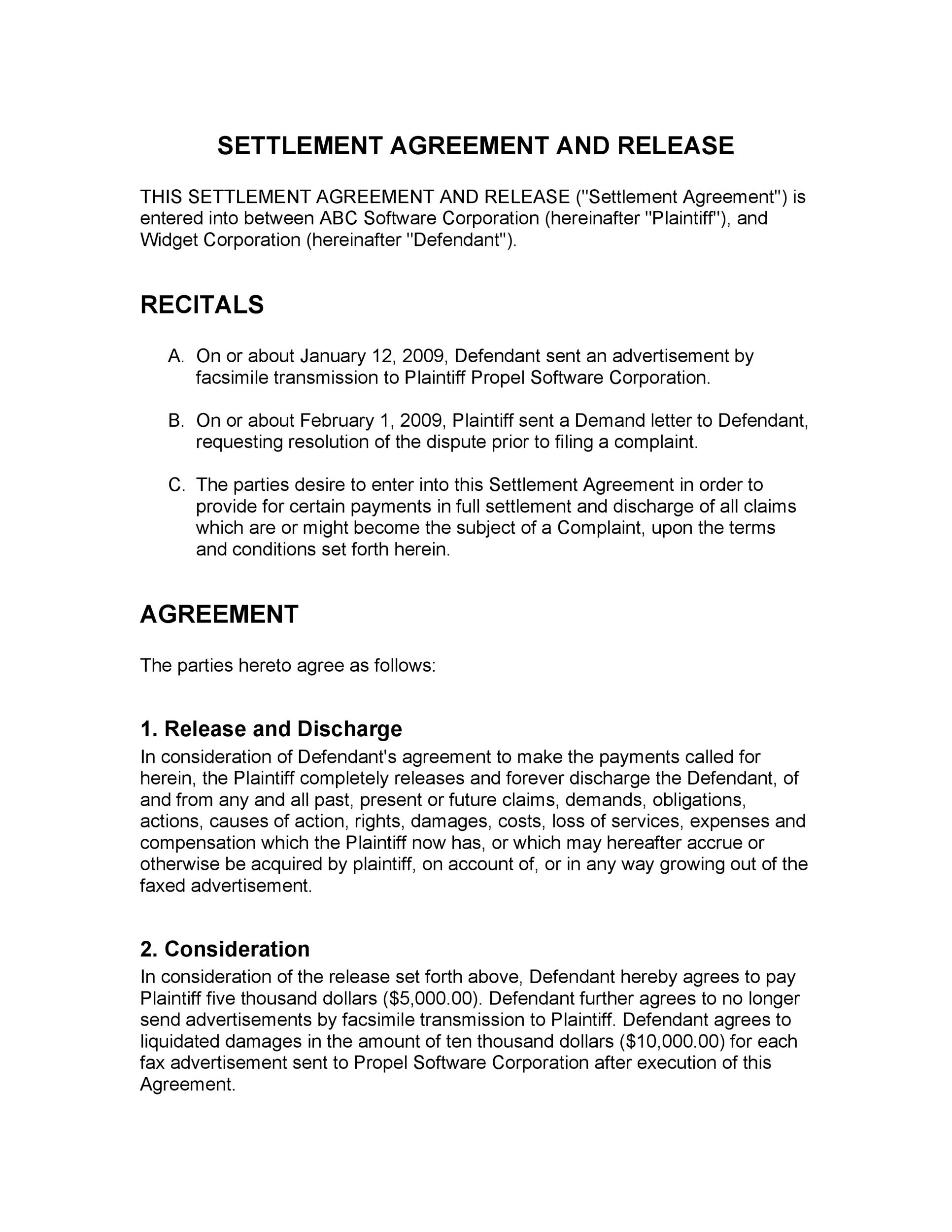 Free settlement agreement 03
