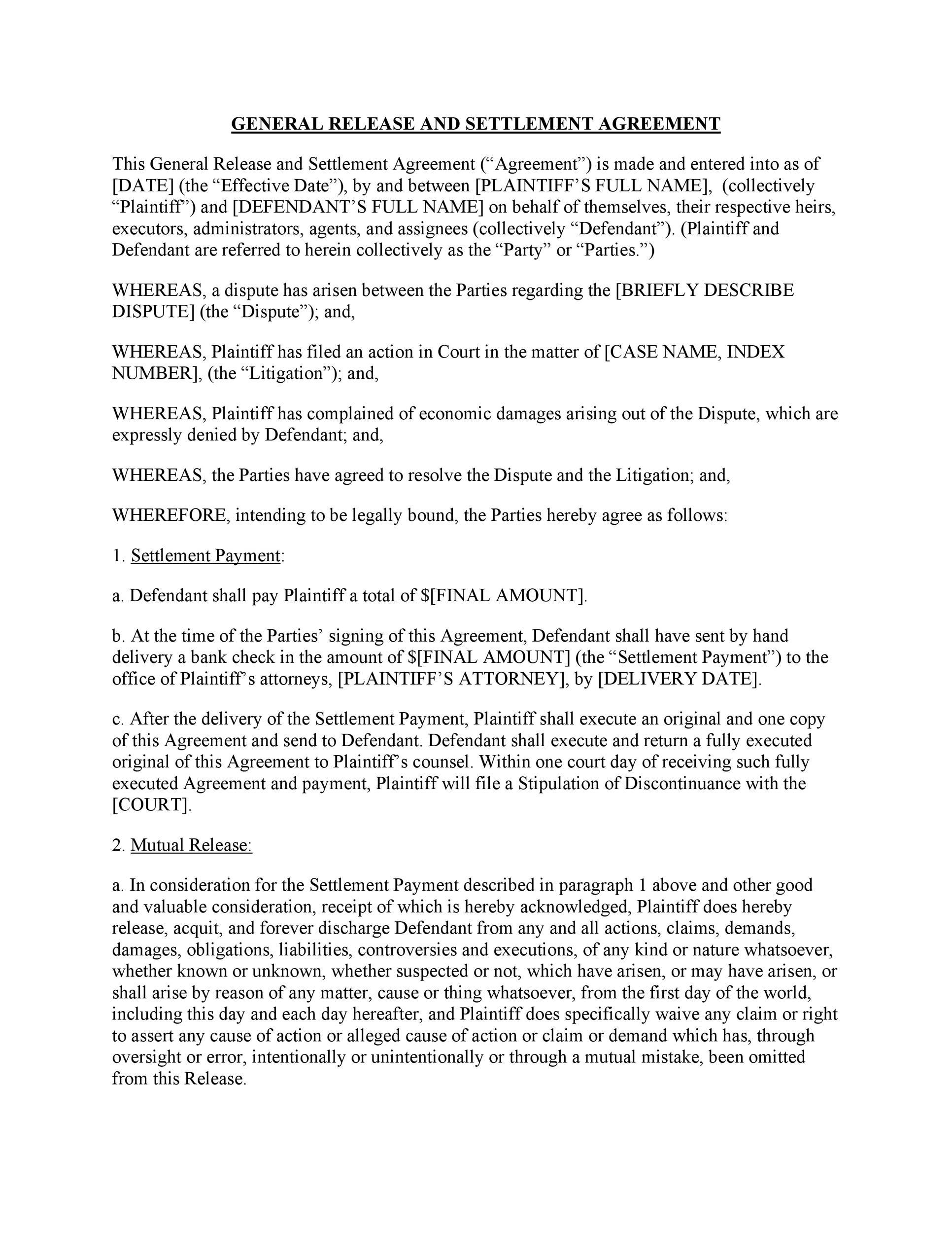 Free settlement agreement 04