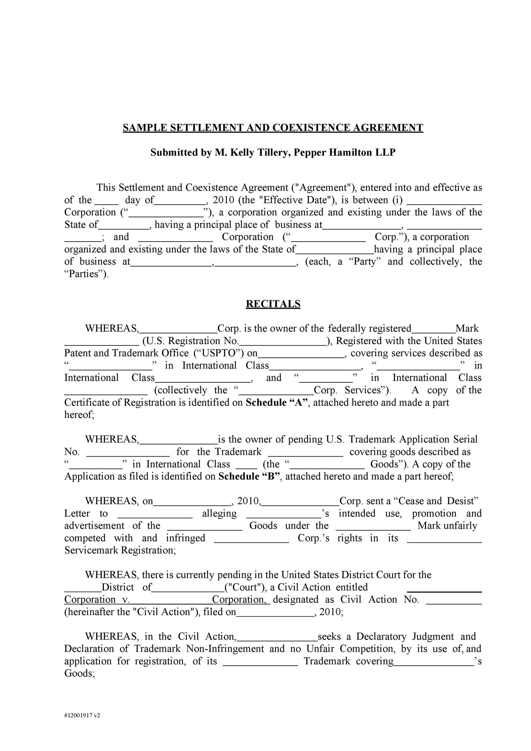 Free settlement agreement 05