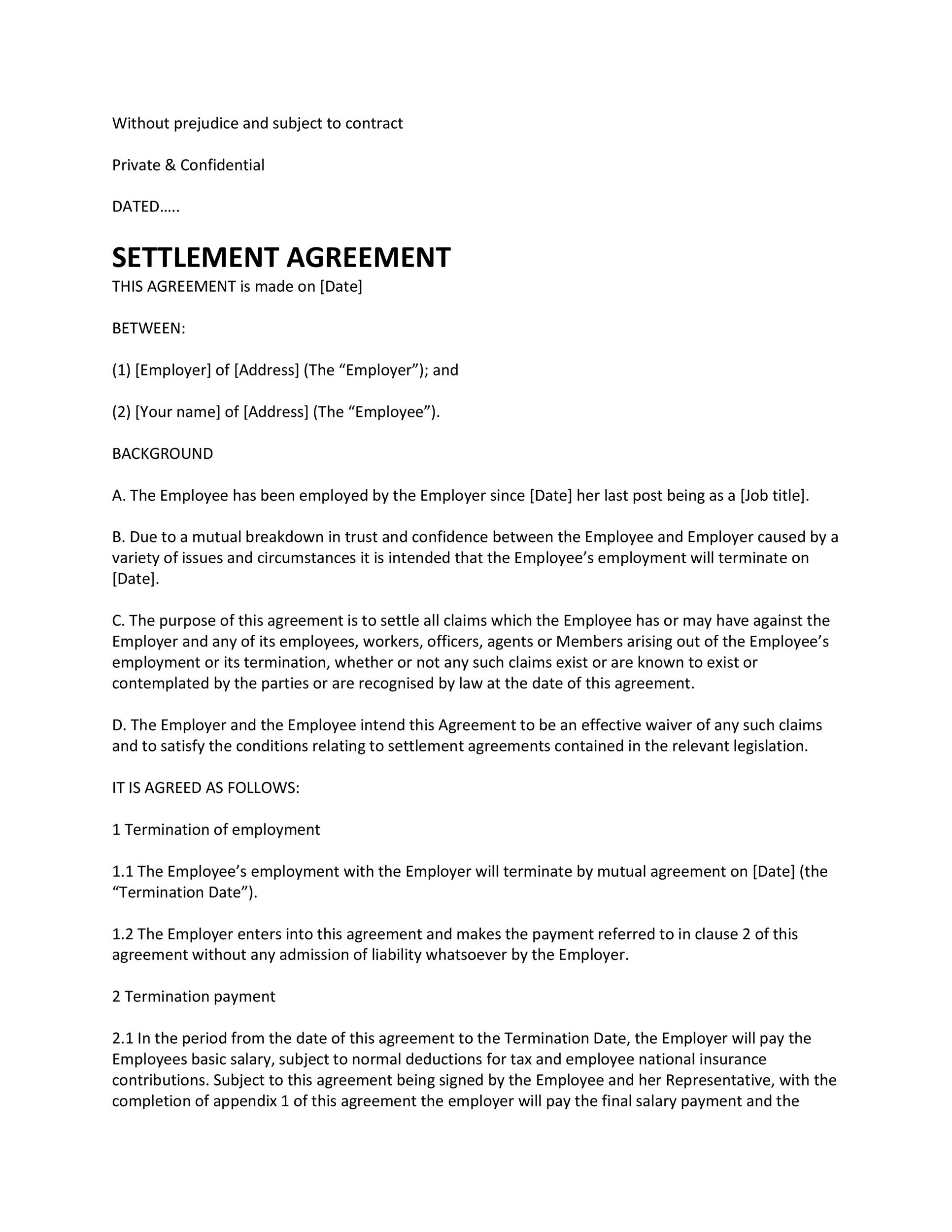 Sample Settlement Agreement Letter from templatelab.com