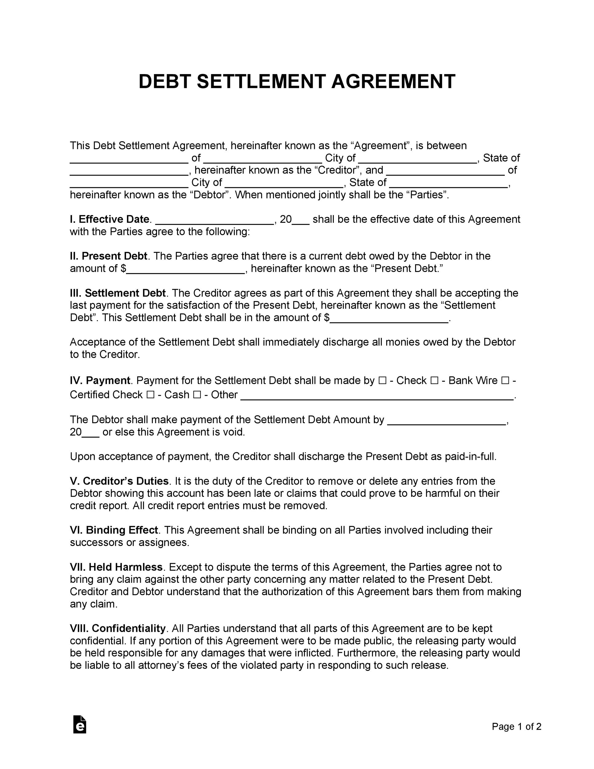Free settlement agreement 09