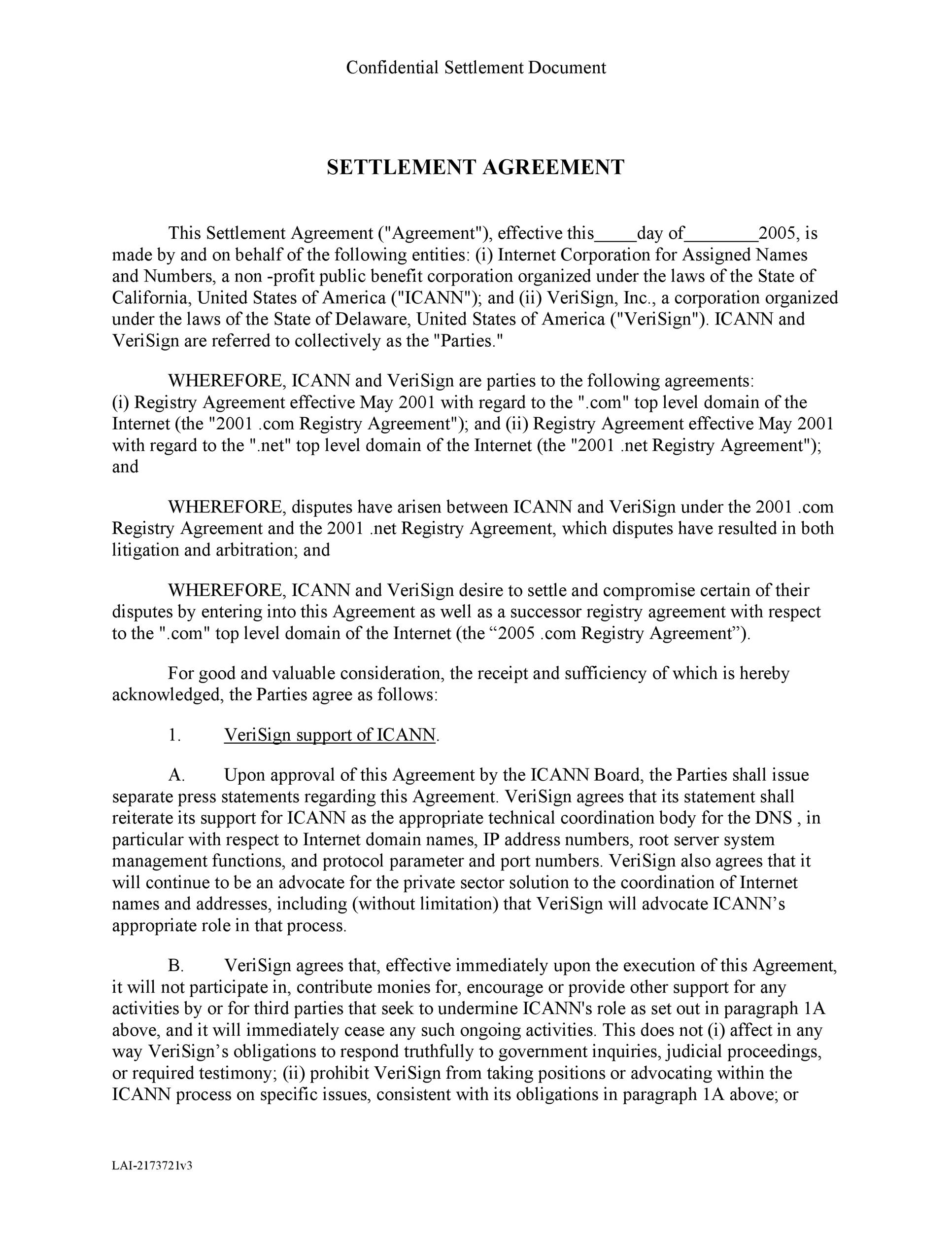 Free settlement agreement 11