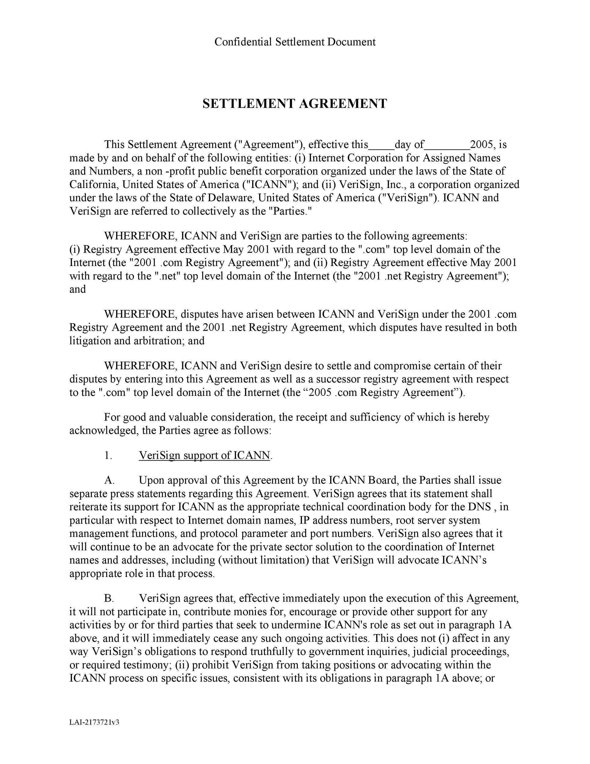 Free settlement agreement 11