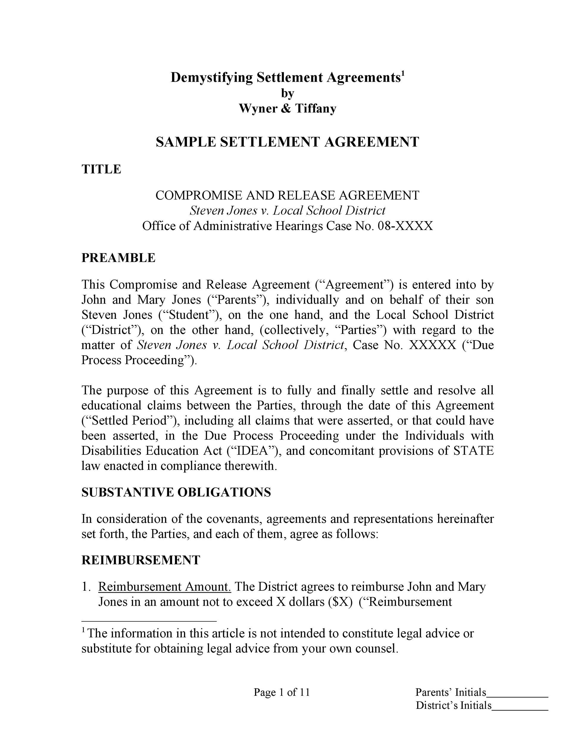 Free settlement agreement 12