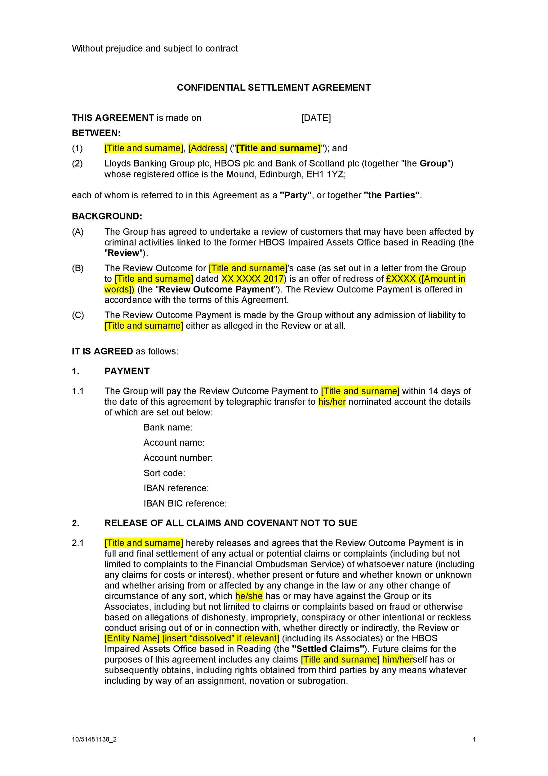 Free settlement agreement 16