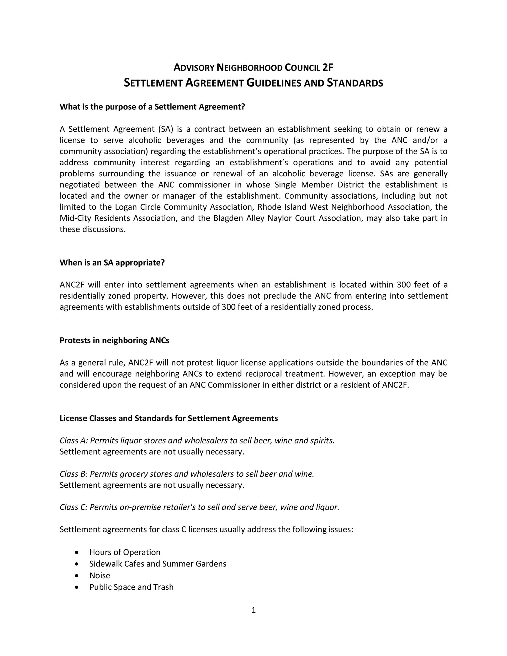 Free settlement agreement 17