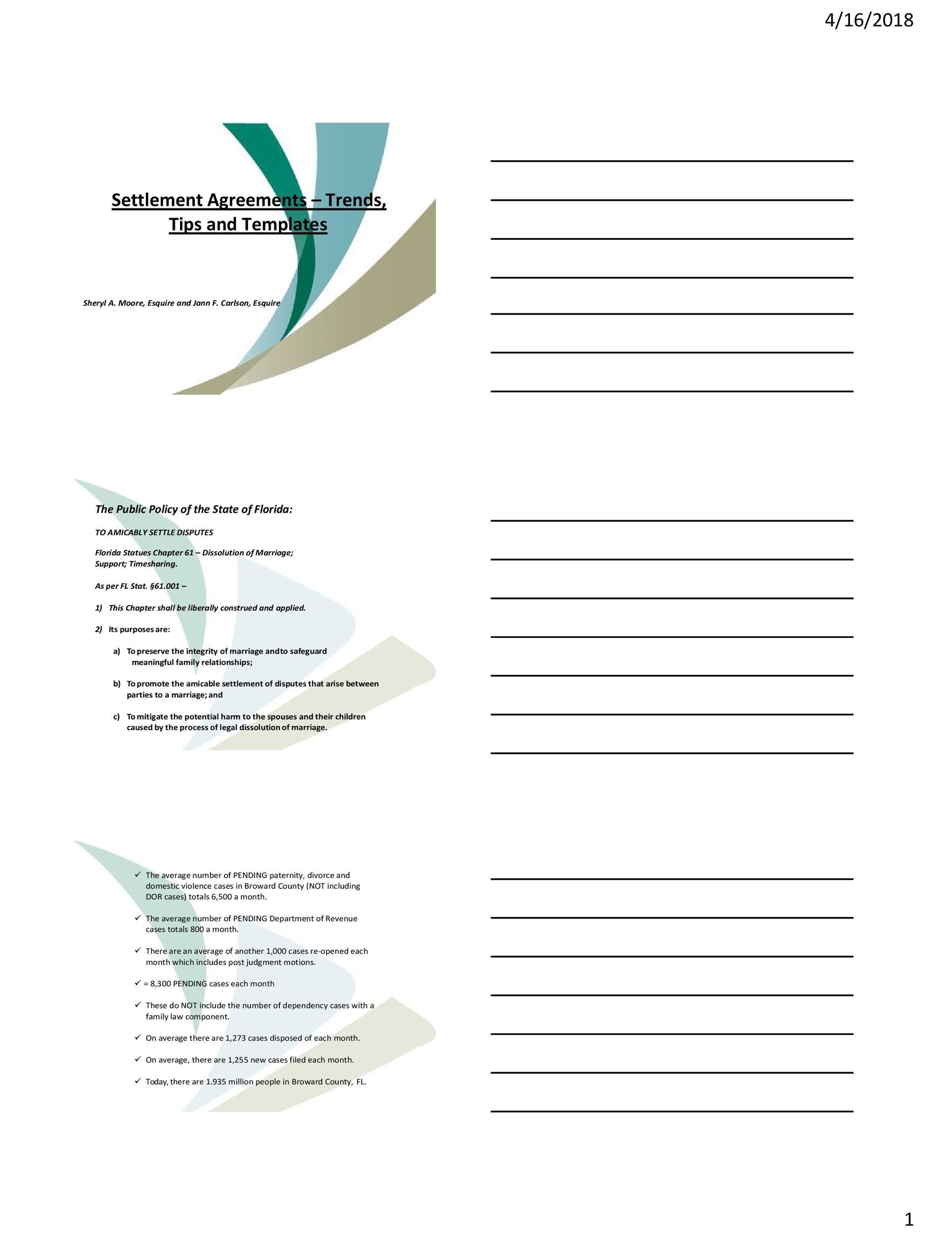 Free settlement agreement 18