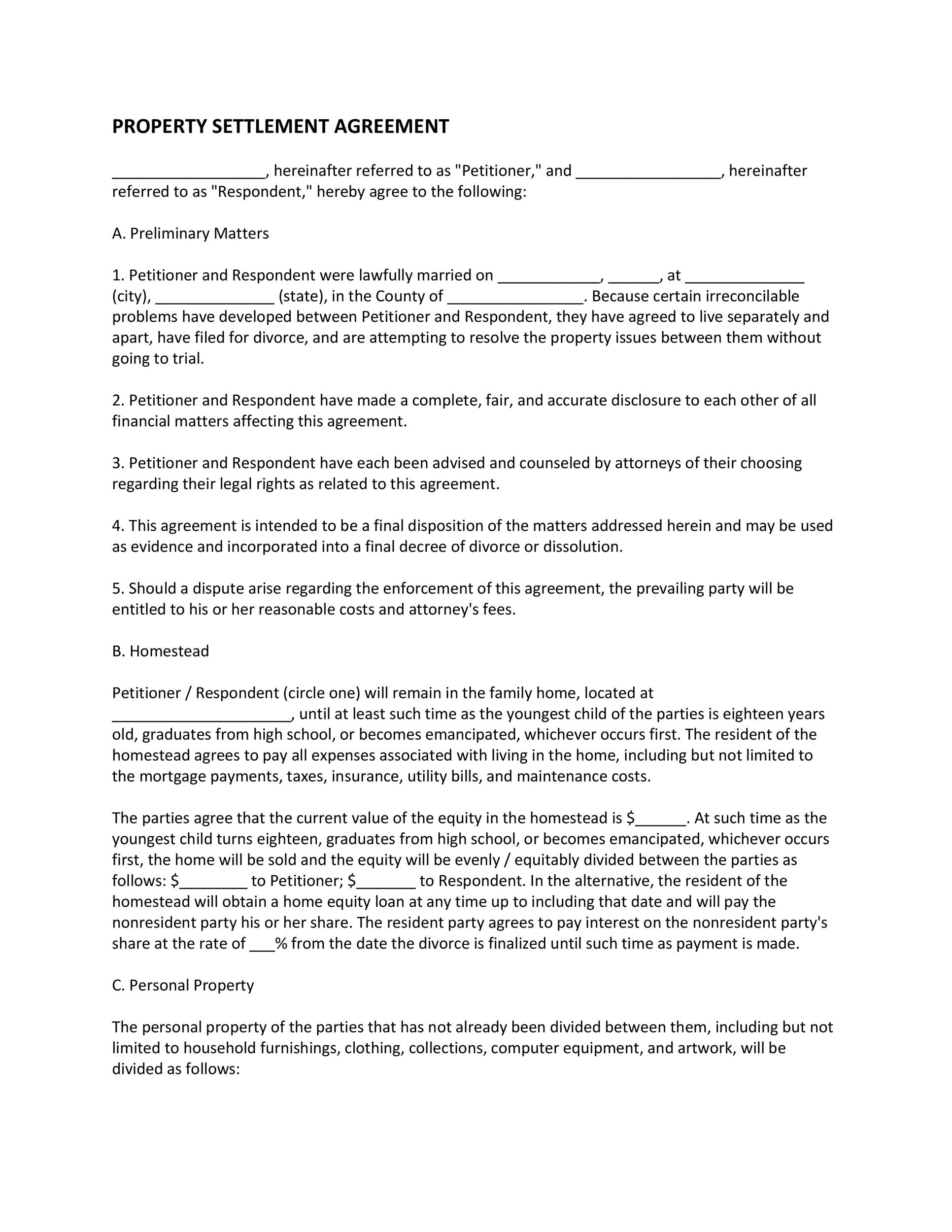 Free settlement agreement 19