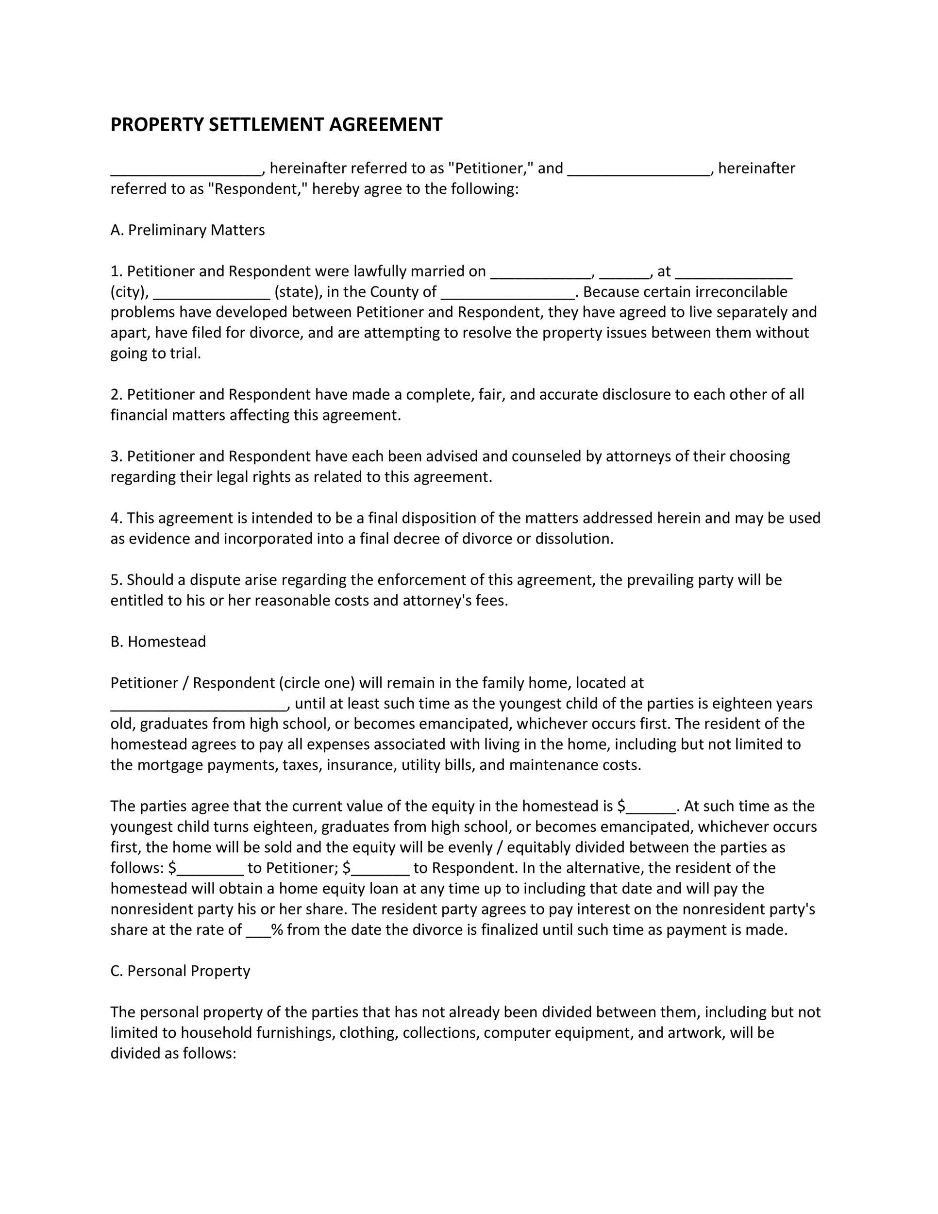 Free settlement agreement 19