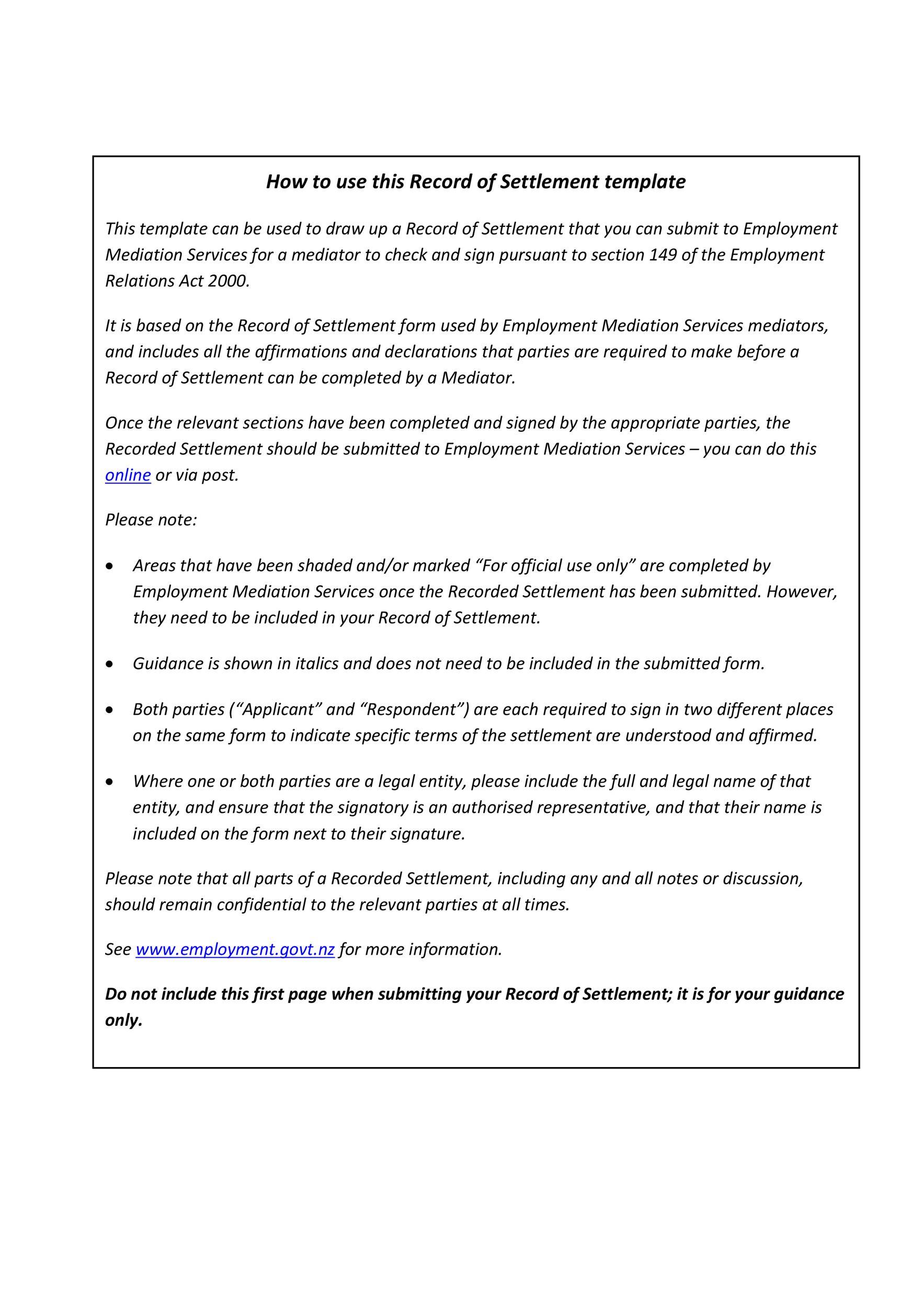 Free settlement agreement 21