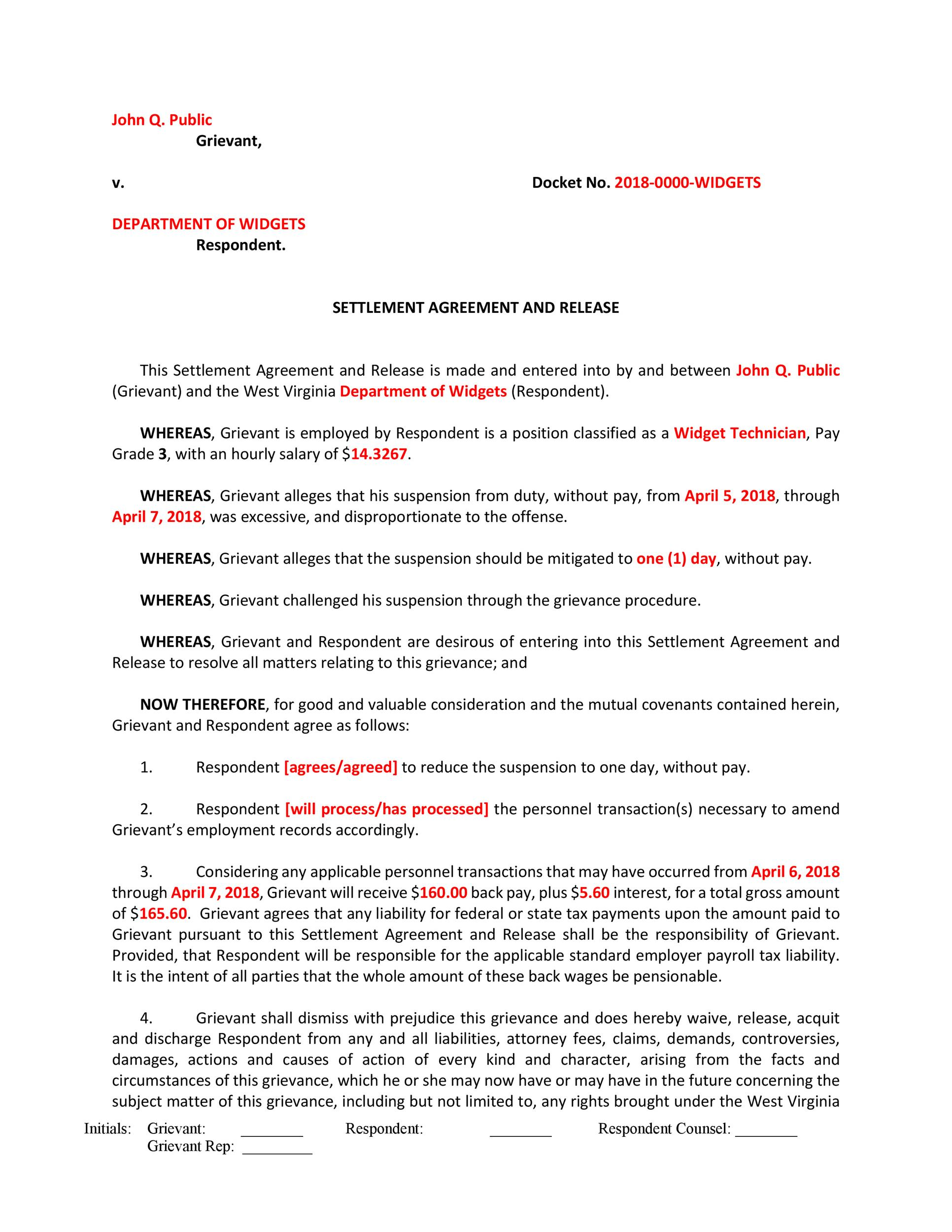 Free settlement agreement 22