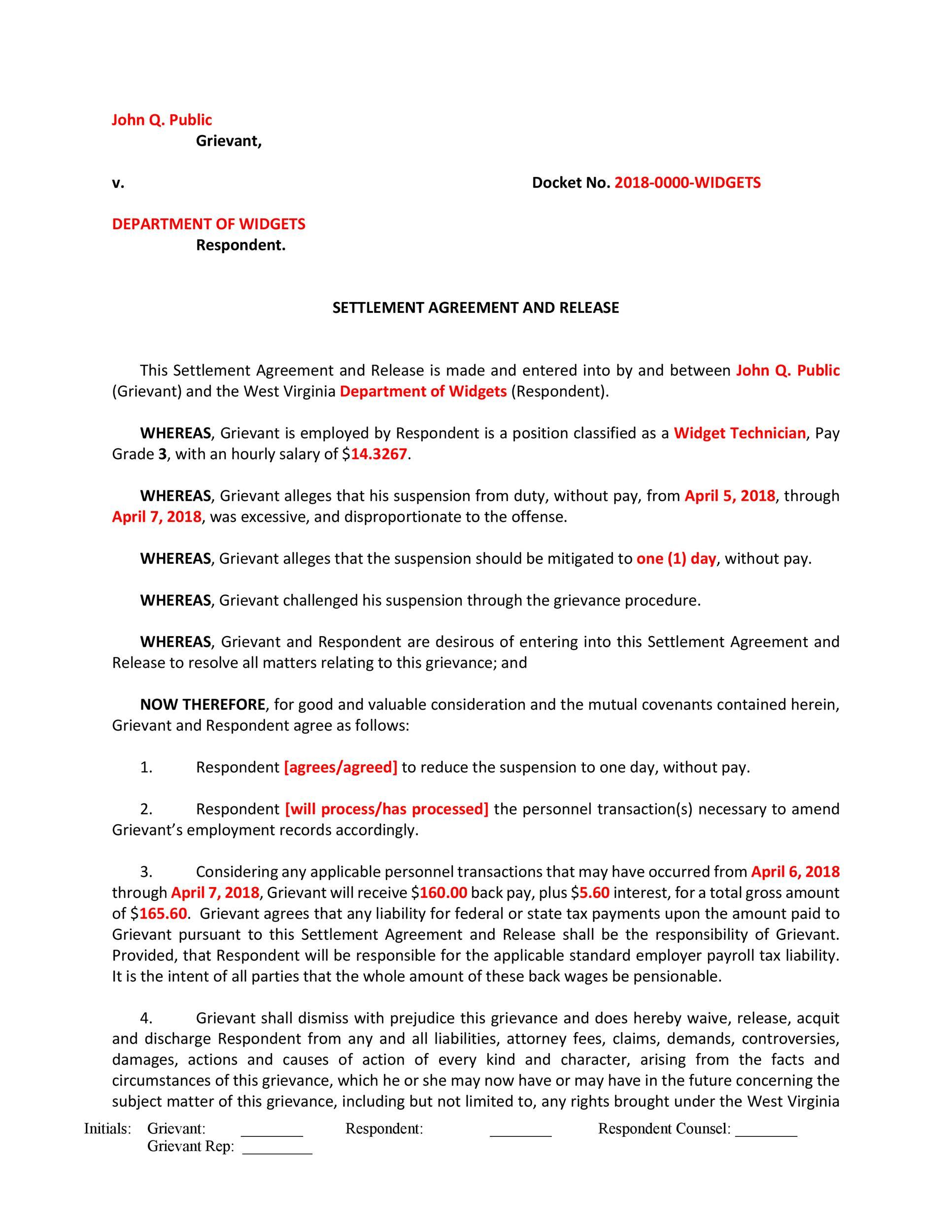 Free settlement agreement 22