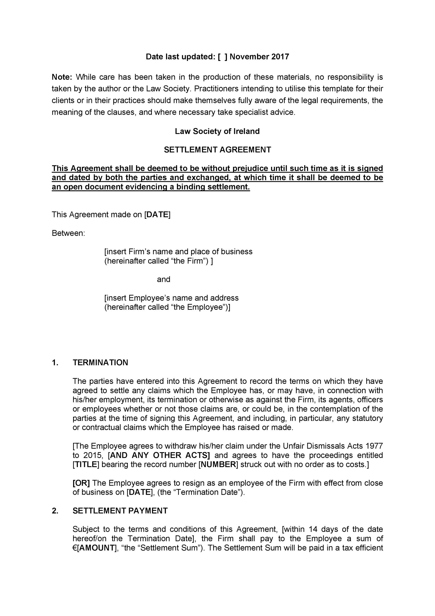 Free settlement agreement 23