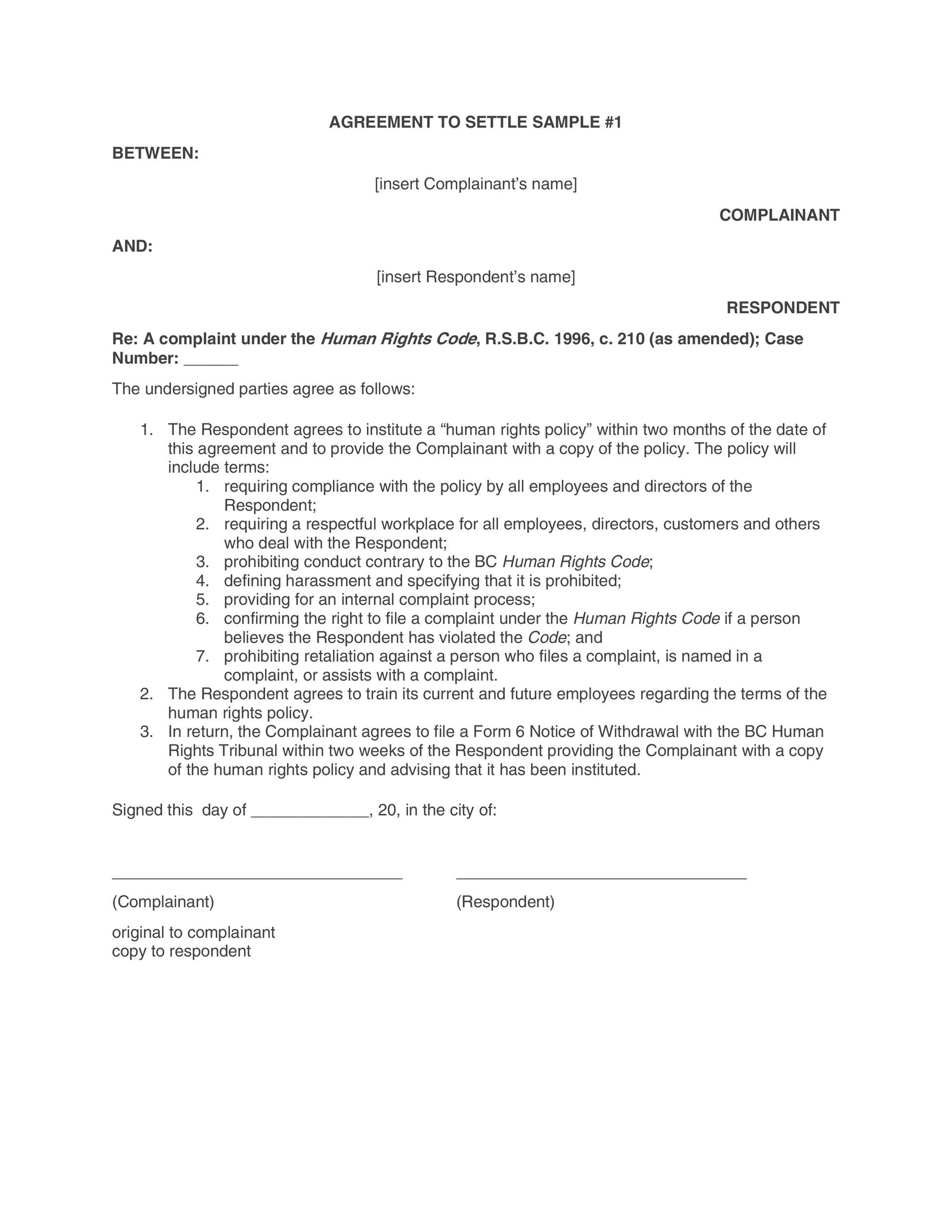 Free settlement agreement 24
