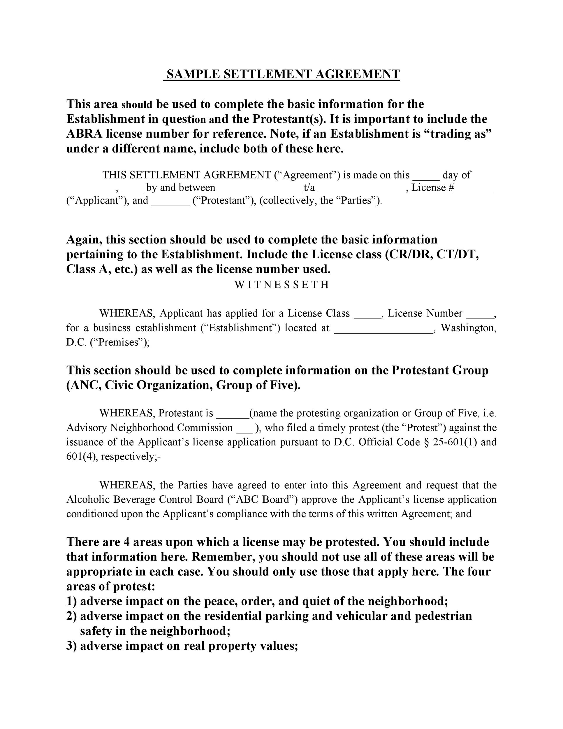 Free settlement agreement 28