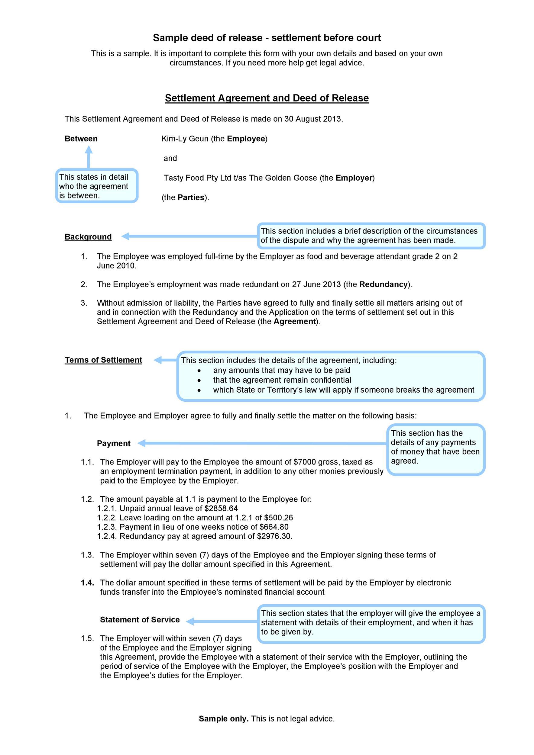 Free settlement agreement 29