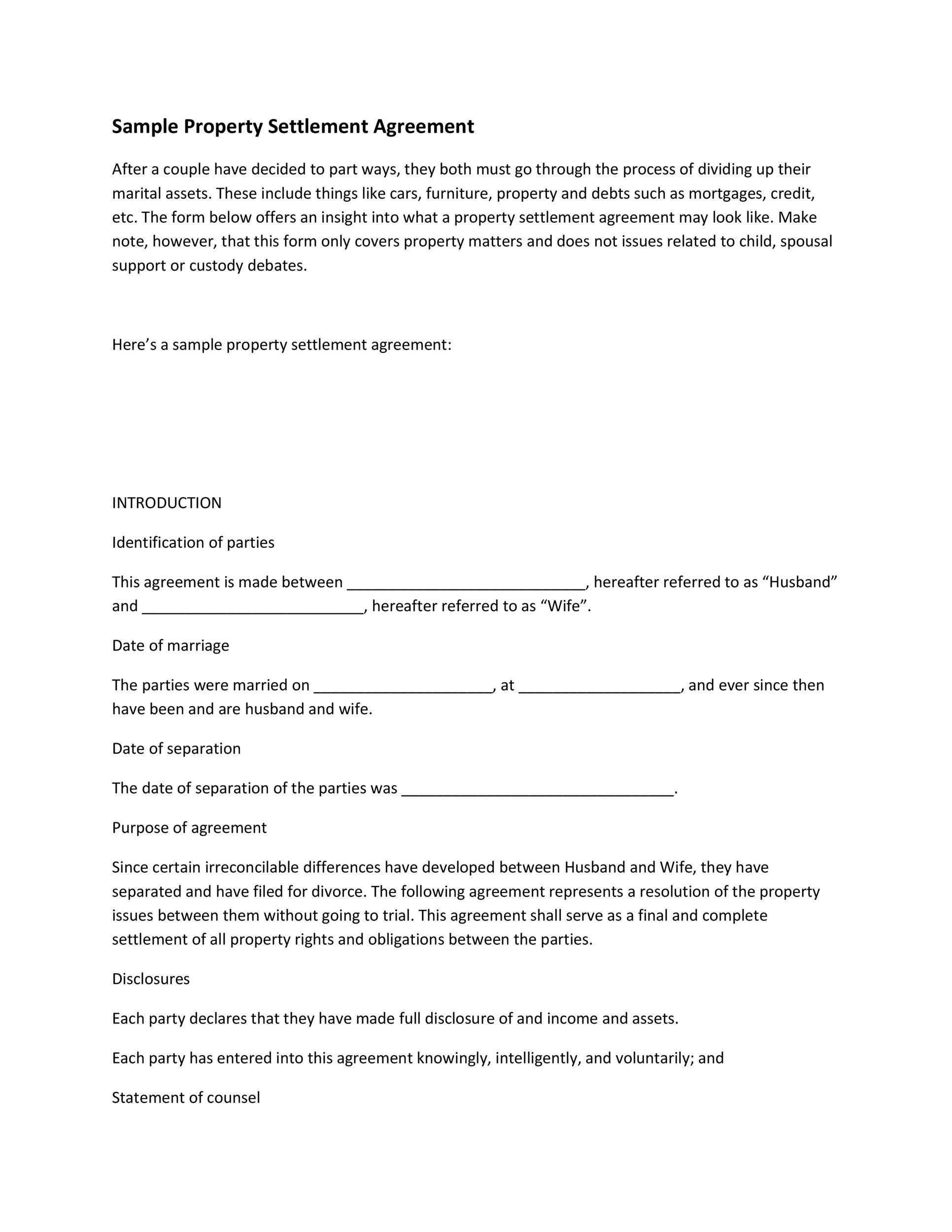 Free settlement agreement 30