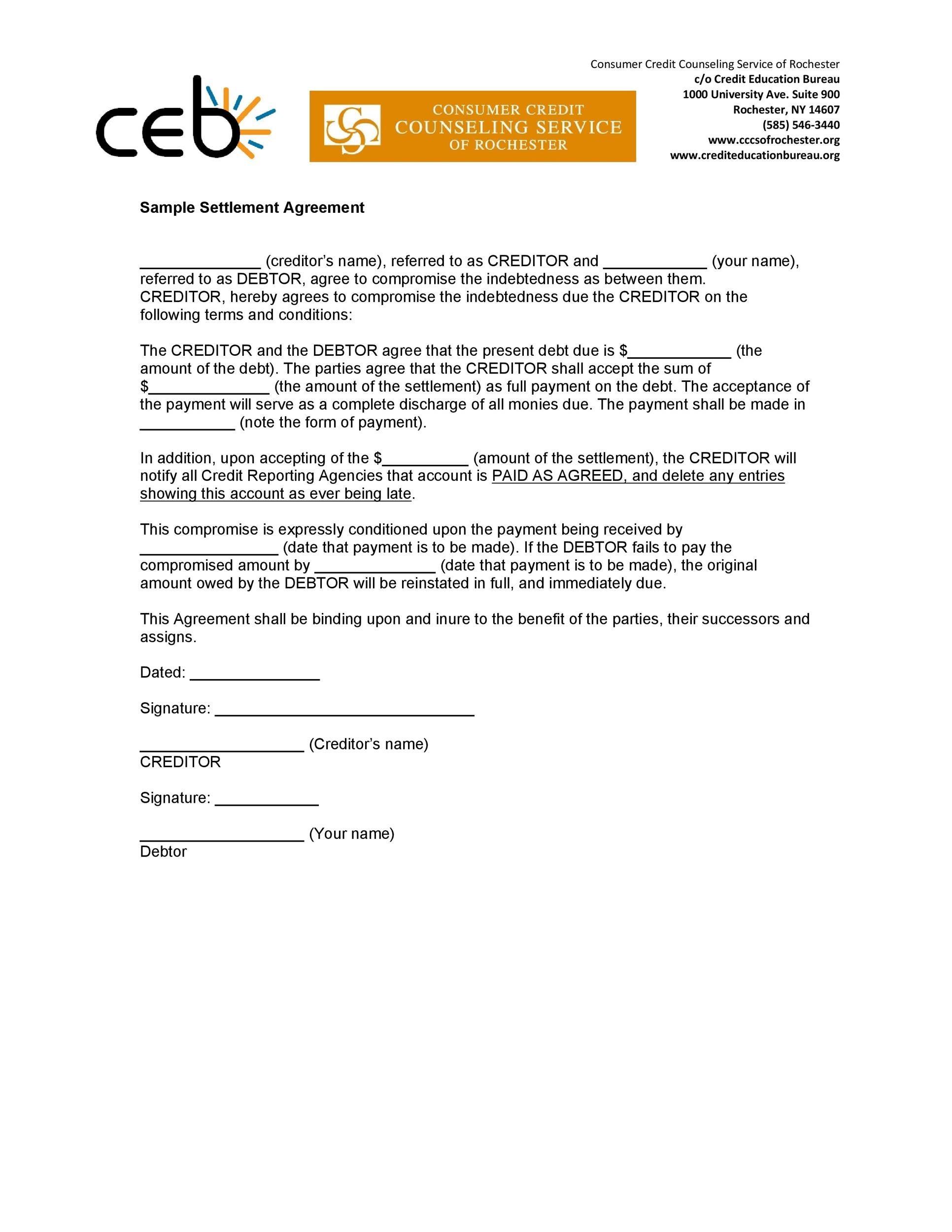 Free settlement agreement 31