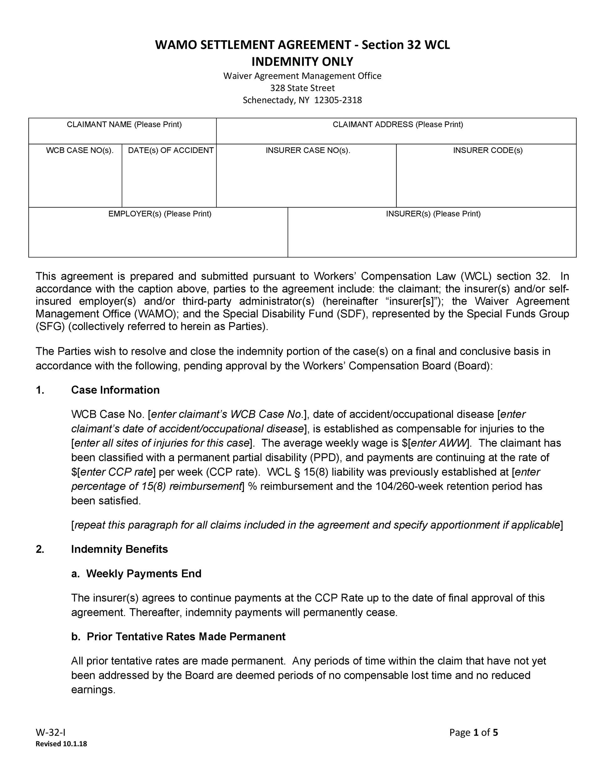 Free settlement agreement 33