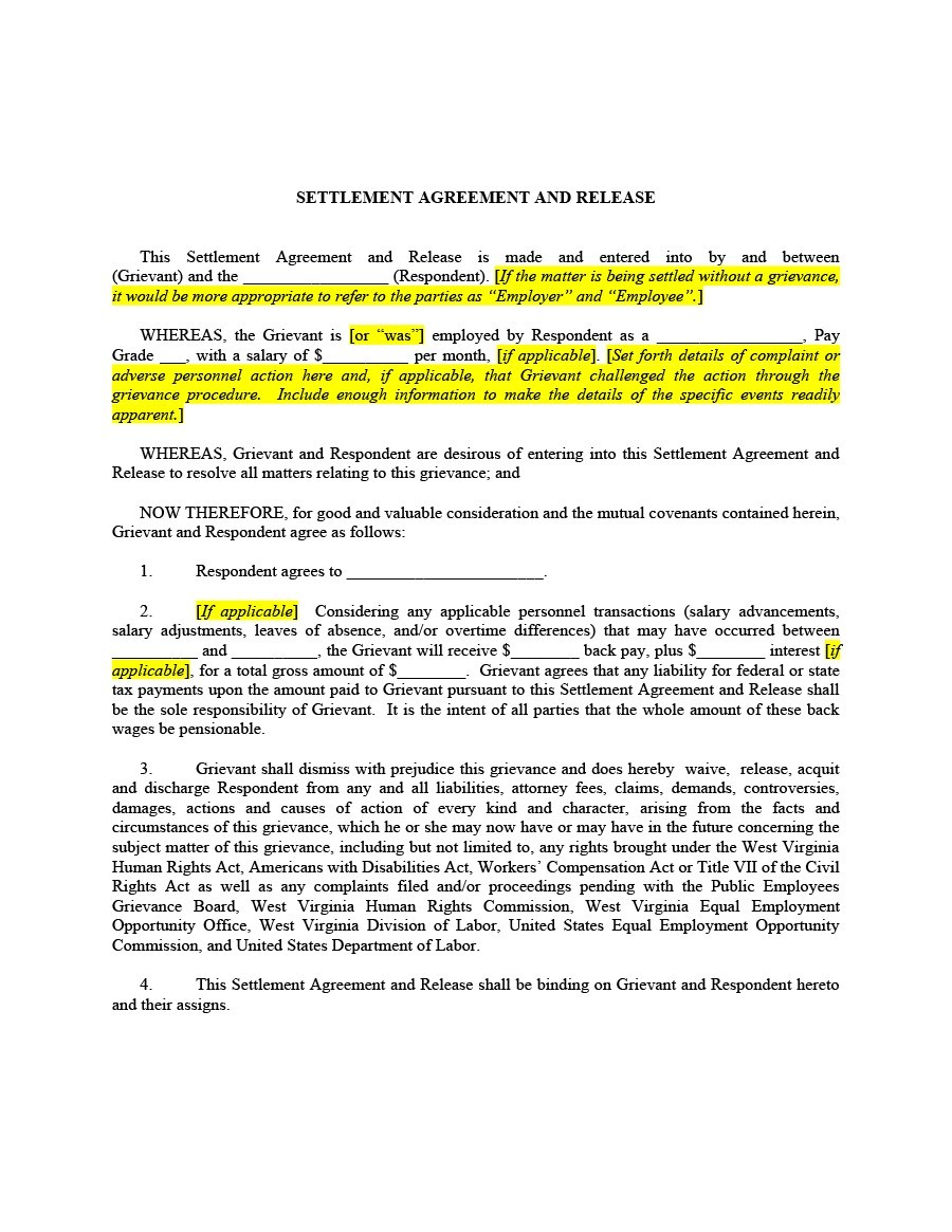 Free settlement agreement 34