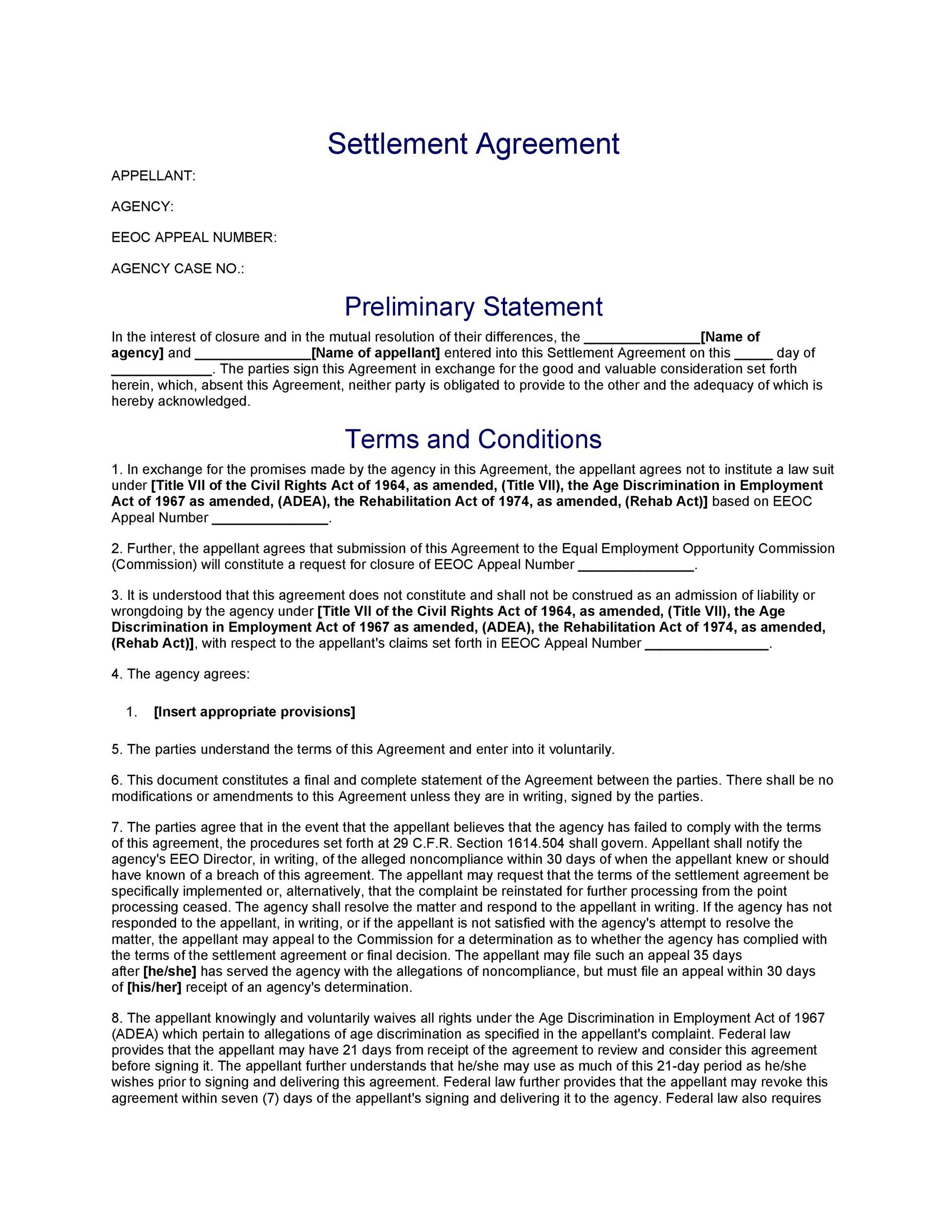 Free settlement agreement 35