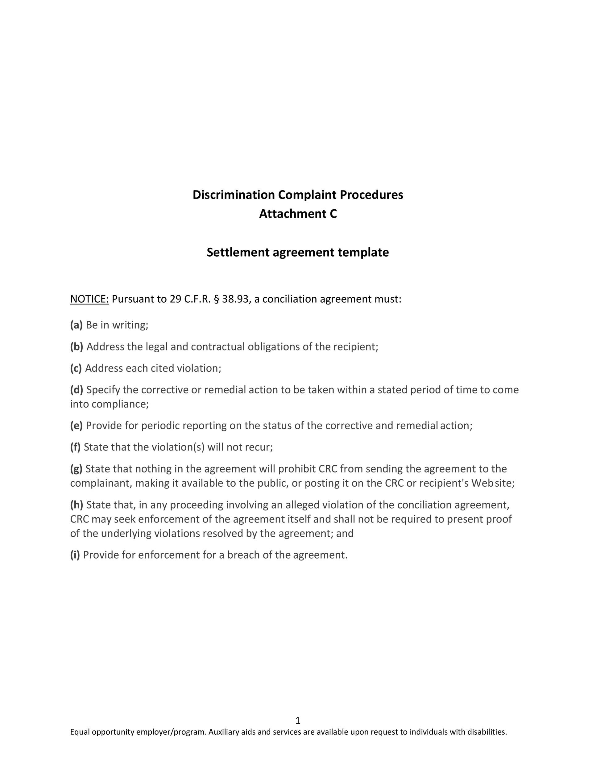 Free settlement agreement 38