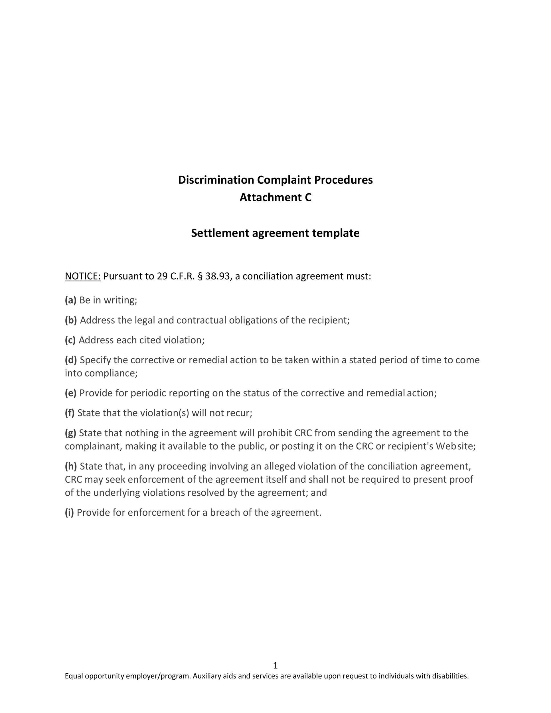 Free settlement agreement 38