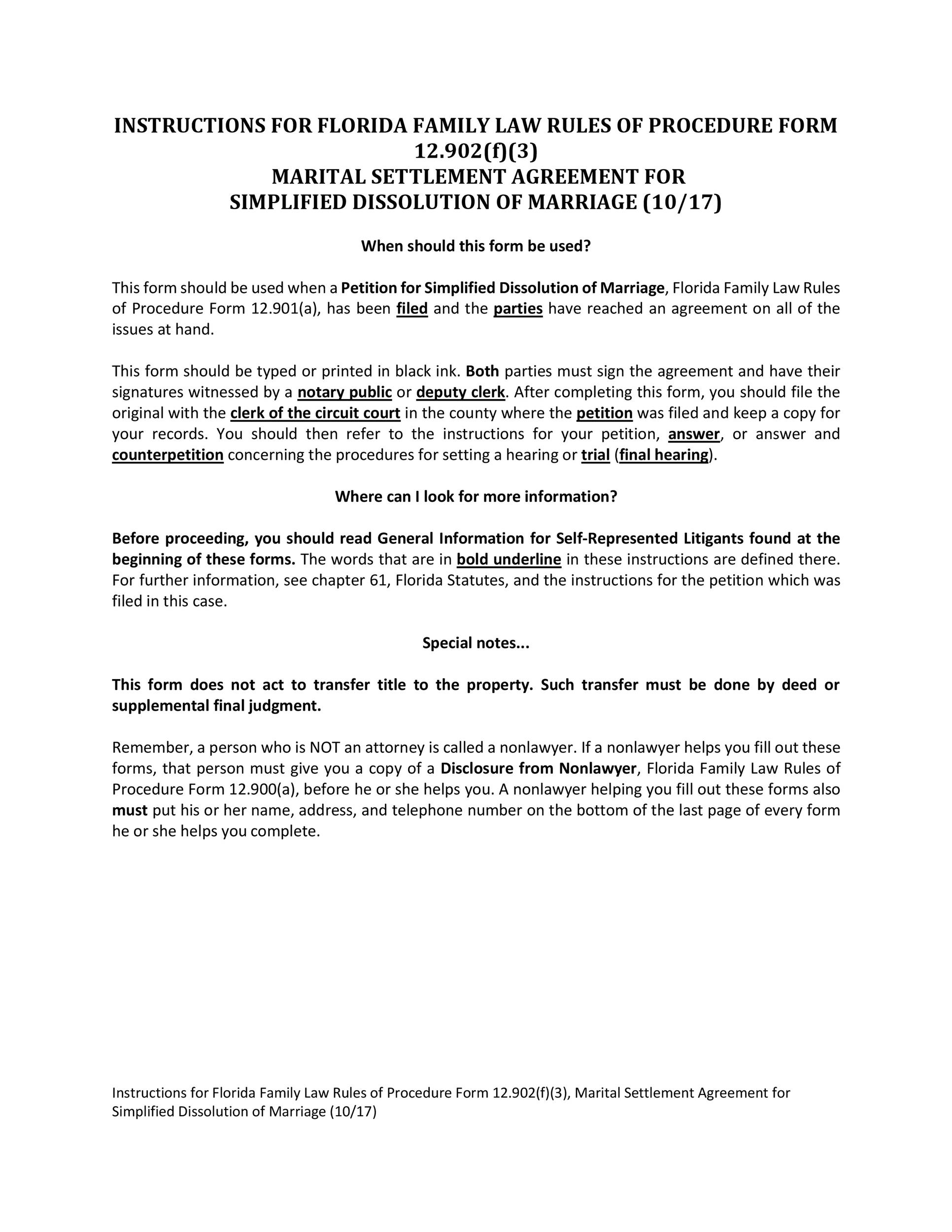 Free settlement agreement 39