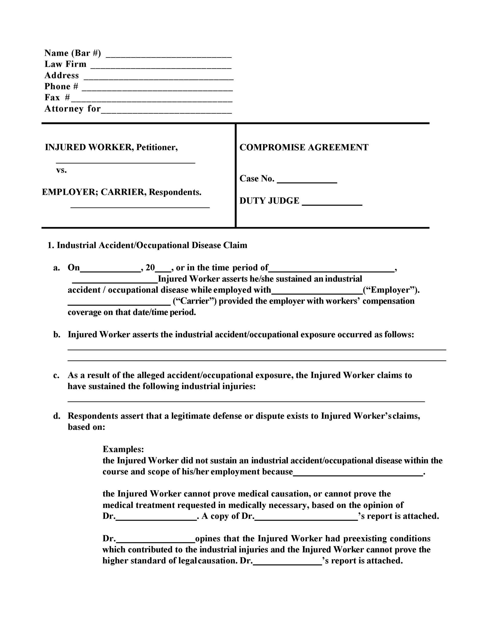 Free settlement agreement 40