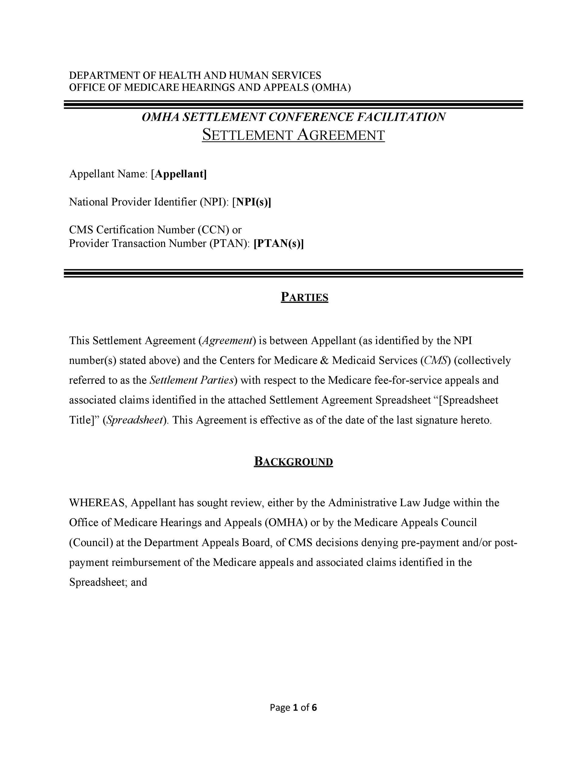 Free settlement agreement 41