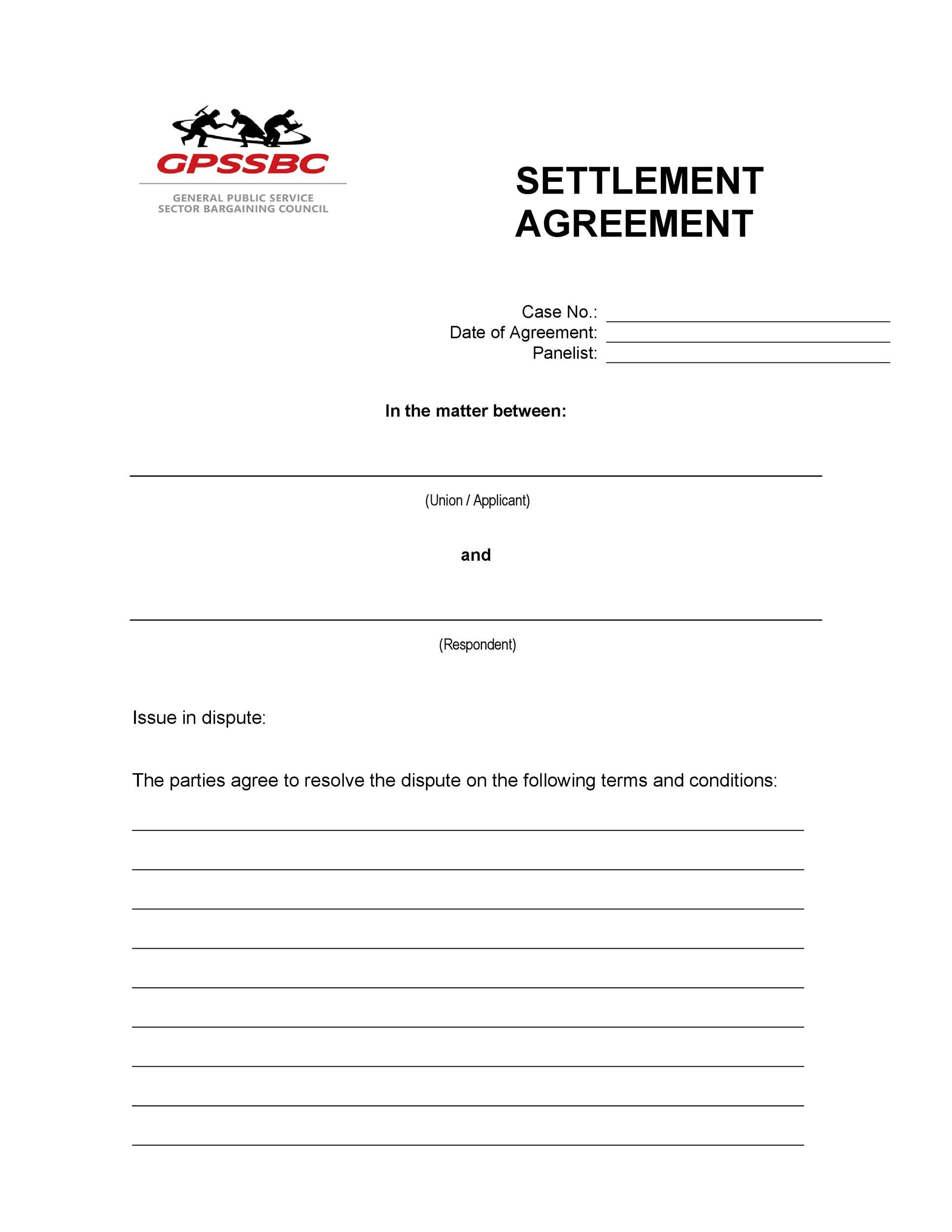 Free settlement agreement 42