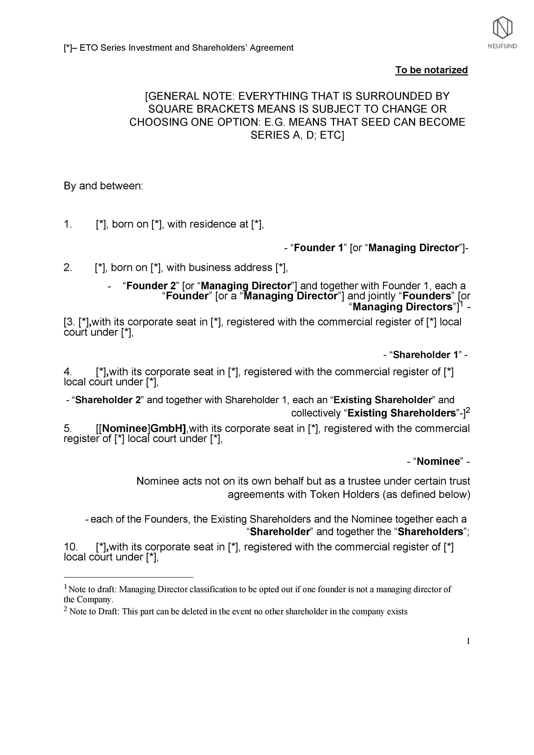 Free shareholder agreement 03